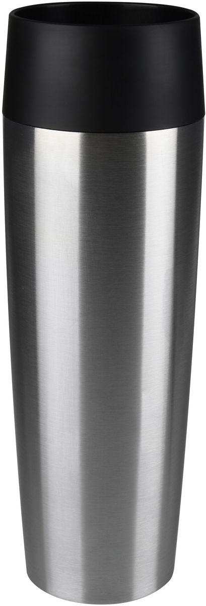 Термокружка Emsa Travel Mug, 360 мл. 513351513351Термокружка Emsa Travel Mug - это идеальный попутчик в дороге - не важно, по пути ли на работу, в школу или во время похода по магазинам. Вакуумная кружка на 100% герметична. Кружка имеет вакуумную колбу из нержавеющей стали с двойными стенками, благодаря чему температура жидкости сохраняется долгое время. Кружку удобно держать благодаря силиконовому покрытию Soft Touch с оригинальным рельефом в виде надписей. Изделие открывается нажатием кнопки. Пробка разбирается и превосходно моется. Можно мыть в посудомоечной машине. Диаметр кружки по верхнему краю: 8 см.Диаметр дна кружки: 6,5 см.Высота кружки: 20 см.Сохранение холодной температуры: 8 ч.Сохранение горячей температуры: 4 ч.