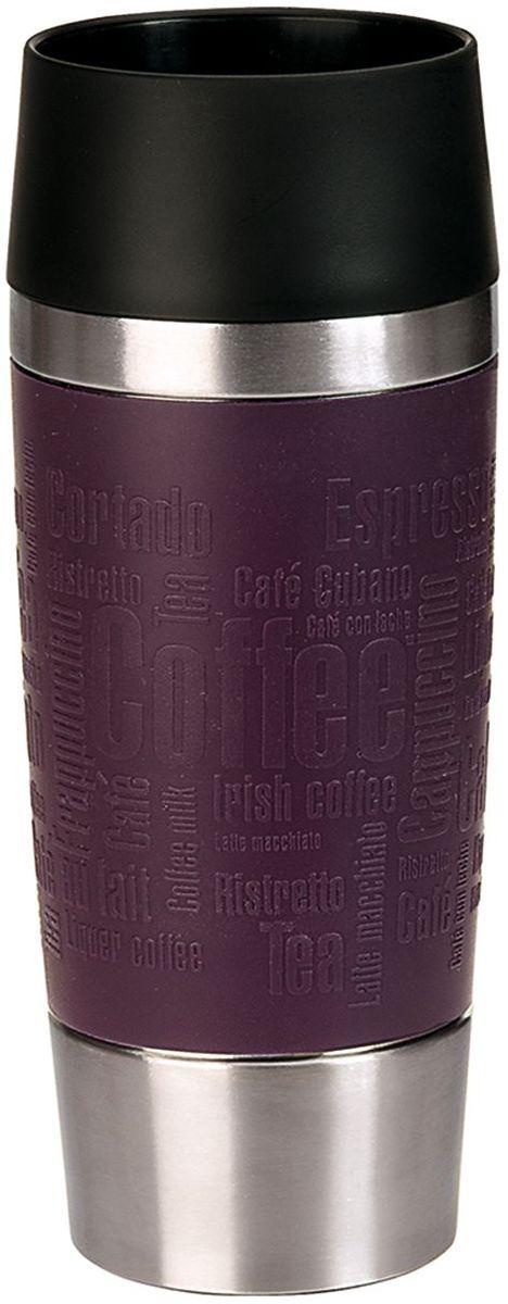 Термокружка Emsa Travel Mug, цвет: фиолетовый, 360 мл513359Термокружка Emsa Travel Mug - это идеальный попутчик в дороге - не важно, по пути ли на работу, в школу или во время похода по магазинам. Вакуумная кружка на 100% герметична. Кружка имеет вакуумную колбу из нержавеющей стали с двойными стенками, благодаря чему температура жидкости сохраняется долгое время. Кружку удобно держать благодаря силиконовому покрытию Soft Touch с оригинальным рельефом в виде надписей. Изделие открывается нажатием кнопки. Пробка разбирается и превосходно моется. Дно кружки выполнено из противоскользящего материала. Можно мыть в посудомоечной машине. Диаметр кружки по верхнему краю: 8 см.Диаметр дна кружки: 6,5 см.Высота кружки: 20 см.Сохранение холодной температуры: 8 ч.Сохранение горячей температуры: 4 ч.