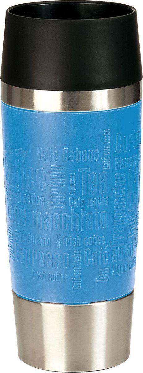 Термокружка Emsa Travel Mug, цвет: голубой, черный, 360 млVT-1520(SR)Термокружка Emsa Travel Mug - это идеальный попутчик в дороге - не важно, по пути ли на работу, в школу или во время похода по магазинам. Вакуумная кружка на 100% герметична. Кружка имеет вакуумную колбу из нержавеющей стали с двойными стенками, благодаря чему температура жидкости сохраняется долгое время. Кружку удобно держать благодаря силиконовому покрытию Soft Touch с оригинальным рельефом в виде надписей. Изделие открывается нажатием кнопки. Пробка разбирается и превосходно моется. Дно кружки выполнено из противоскользящего материала. Можно мыть в посудомоечной машине. Диаметр кружки по верхнему краю: 8 см.Диаметр дна кружки: 6,5 см.Высота кружки: 20 см.Сохранение холодной температуры: 8 ч.Сохранение горячей температуры: 4 ч.
