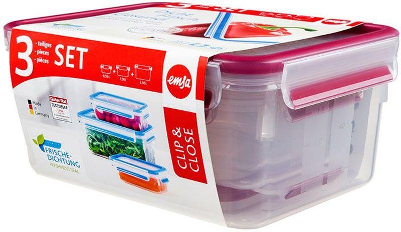 Набор контейнеров Emsa Clip&Close, цвет: малиновый, прозрачный, 3 предмета515584Набор Emsa Clip&Close состоит из трех контейнеров разного объема, изготовленных из высококачественного пищевого пластика, который выдерживает температуру от -40°С до +110°С, не впитывает запахи и не изменяет цвет. Это абсолютно гигиеничный продукт, который подходит для хранения даже детского питания. Изделия снабжены крышками, плотно закрывающимися на 4 защелки. Герметичность достигается за счет специальных силиконовых прослоек, которые позволяют использовать контейнер для хранения не только пищи, но и напитков. В таком контейнере продукты долгое время сохраняют свою свежесть. Прозрачные стенки позволяют просматривать содержимое. Сбоку имеются отметки литража. Изделия подходят для домашнего использования, для пикников, поездок, такие контейнеры удобно брать с собой на работу или учебу. Можно использовать в СВЧ-печах, холодильниках, посудомоечных машинах, морозильных камерах. Объем контейнеров: 0,55 л, 1 л, 2,3 л.