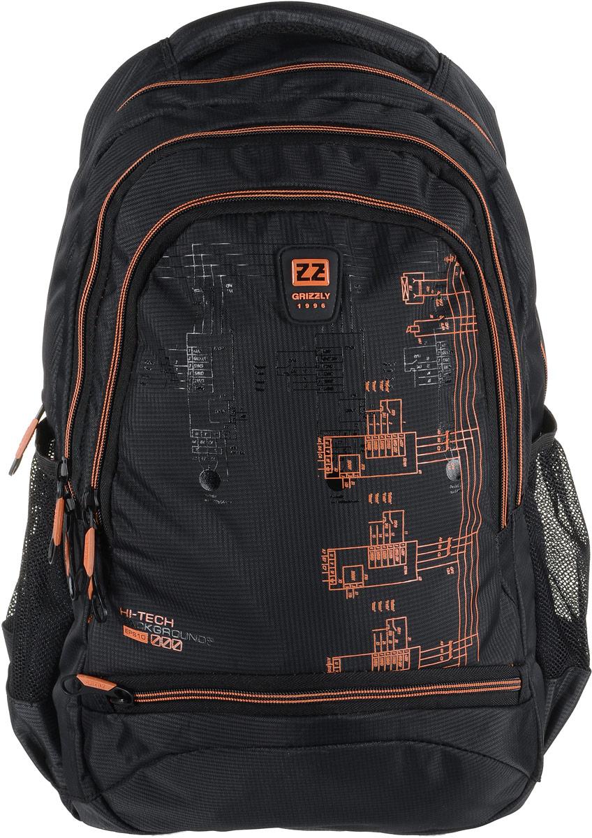 Рюкзак мужской Grizzly, цвет: темно-серый, оранжевый. RU-722-2/2RU-722-2/2Рюкзак Grizzly - это красивый и удобный рюкзак, который подойдет всем, кто хочет разнообразить свои будни. Рюкзак выполнен из плотного материала с оригинальным принтом. Рюкзак содержит три вместительных отделения, каждое из которых закрывается на молнию. Внутри первого отделения имеется открытый накладной карман, на стенке которого расположился врезной карман на молнии. Второе отделение не содержит дополнительных карманов. Внутри третьего отделения расположены четыре открытых накладных кармашка. Снаружи, по бокам изделия, расположены два открытых сетчатых кармана. Лицевая сторона снизу дополнена карманом на застежке-молнии. Рюкзак оснащен мягкой укрепленной ручкой для переноски, петлей для подвешивания и двумя практичными лямками регулируемой длины. У лямок имеется нагрудная стяжка-фиксатор.Практичный рюкзак станет незаменимым аксессуаром и вместит в себя все необходимое.