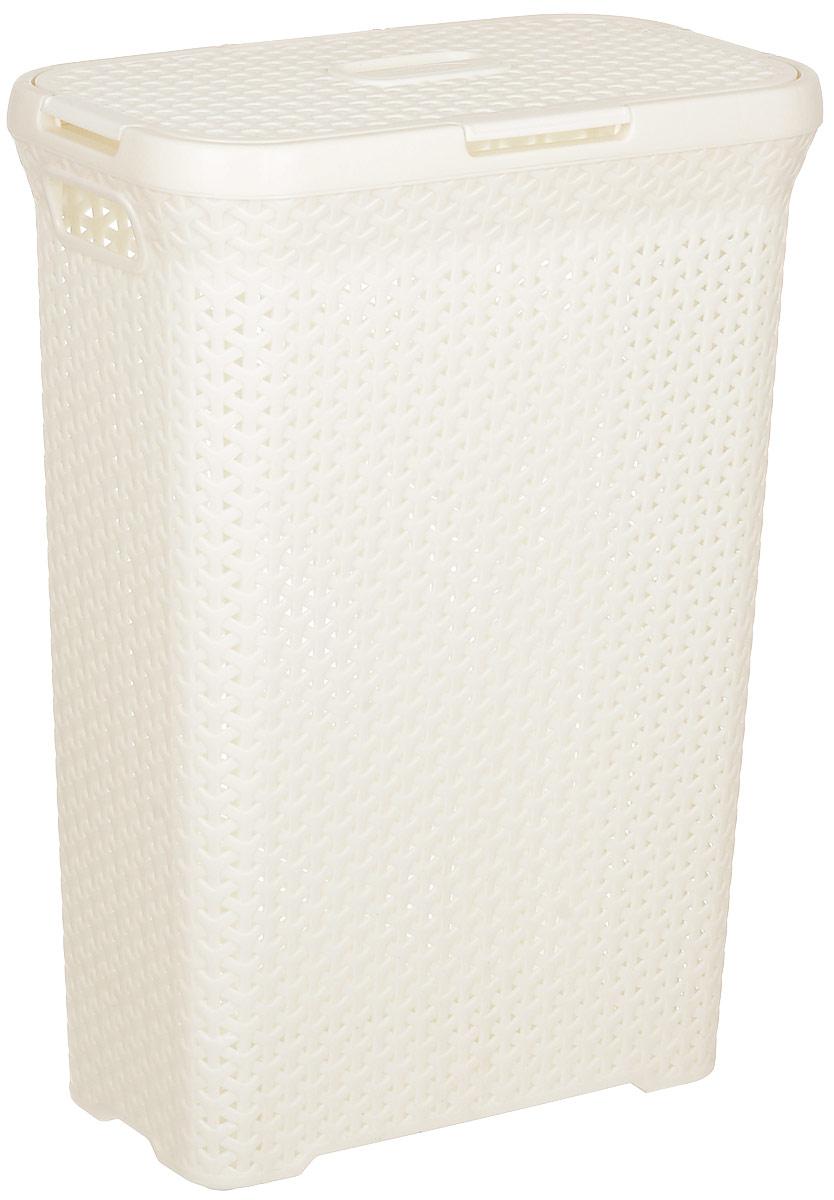 Корзина для белья Magnolia Home, узкая, с крышкой, цвет: бежевый, 55 л68/5/3Вместительная корзина для белья Magnolia Home изготовлена из прочного цветного пластика. Она отлично подойдет для хранения белья перед стиркой. Специальные отверстия на стенках создают идеальные условия для проветривания. Изделие оснащено крышкой и двумя ручками для переноски. Такая корзина для белья прекрасно впишется в интерьер ванной комнаты.Объем: 55 л.