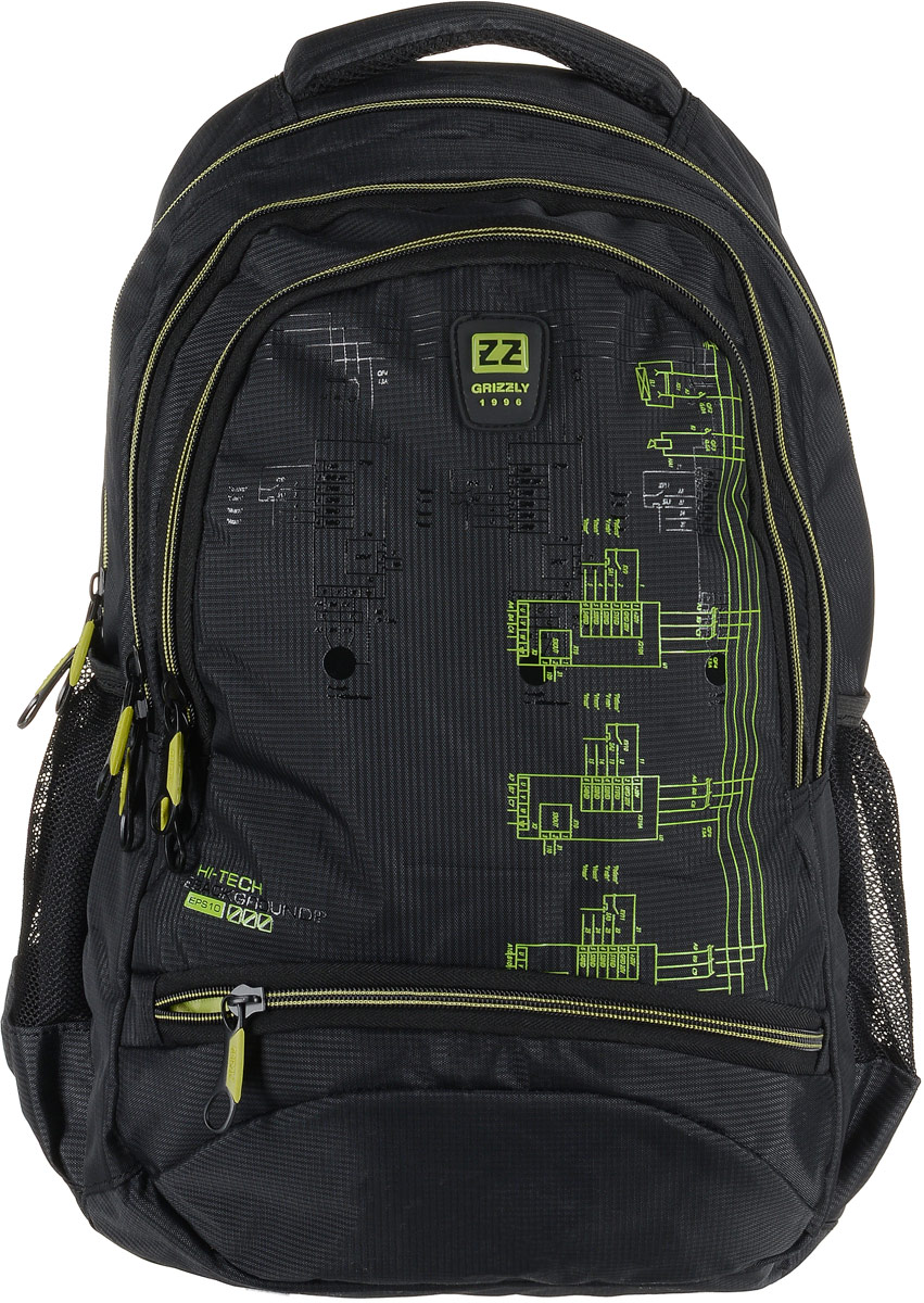 Рюкзак мужской Grizzly, цвет: темно-серый, салатовый. RU-722-2/11125040Рюкзак Grizzly - это красивый и удобный рюкзак, который подойдет всем, кто хочет разнообразить свои будни. Рюкзак выполнен из плотного материала с оригинальным принтом.Рюкзак содержит три вместительных отделения, каждое из которых закрывается на молнию. Внутри первого отделения имеется открытый накладной карман, на стенке которого расположился врезной карман на молнии. Второе отделение не содержит дополнительных карманов. Внутри третьего отделения расположены четыре открытых накладных кармашка. Снаружи, по бокам изделия, расположены два открытых сетчатых кармана. Лицевая сторона снизу дополнена карманом на застежке-молнии. Рюкзак оснащен мягкой укрепленной ручкой для переноски, петлей для подвешивания и двумя практичными лямками регулируемой длины. У лямок имеется нагрудная стяжка-фиксатор. Практичный рюкзак станет незаменимым аксессуаром и вместит в себя все необходимое.