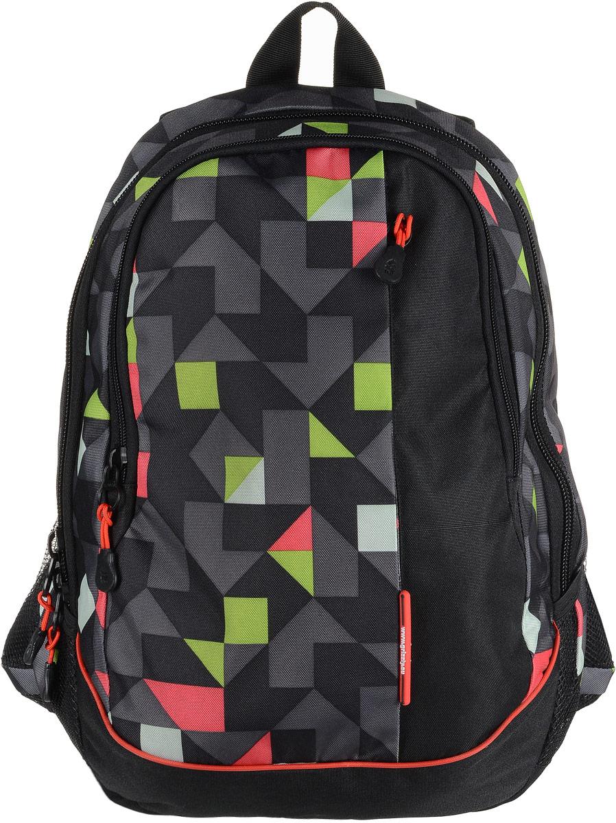 Рюкзак мужской Grizzly, цвет: серый, салатовый, красный. RU-707-6/2BP-001 BKРюкзак Grizzly - это красивый и удобный рюкзак, который подойдет всем, кто хочет разнообразить свои будни. Рюкзак выполнен из плотного материала с оригинальным графическим принтом. Рюкзак содержит два вместительных отделения, каждое из которых закрывается на молнию. Внутри первого отделения имеется подвесной кармашек на молнии. Второе отделение содержит три открытых накладных кармана и три кармашка под канцелярские принадлежности. Снаружи, по бокам изделия, расположены два открытых накладных кармана. Лицевая сторона дополнена вместительным карманом на застежке-молнии. Рюкзак оснащен петлей для переноски или подвешивания и двумя удобными лямками регулируемой длины.Практичный рюкзак станет незаменимым аксессуаром и вместит в себя все необходимое.