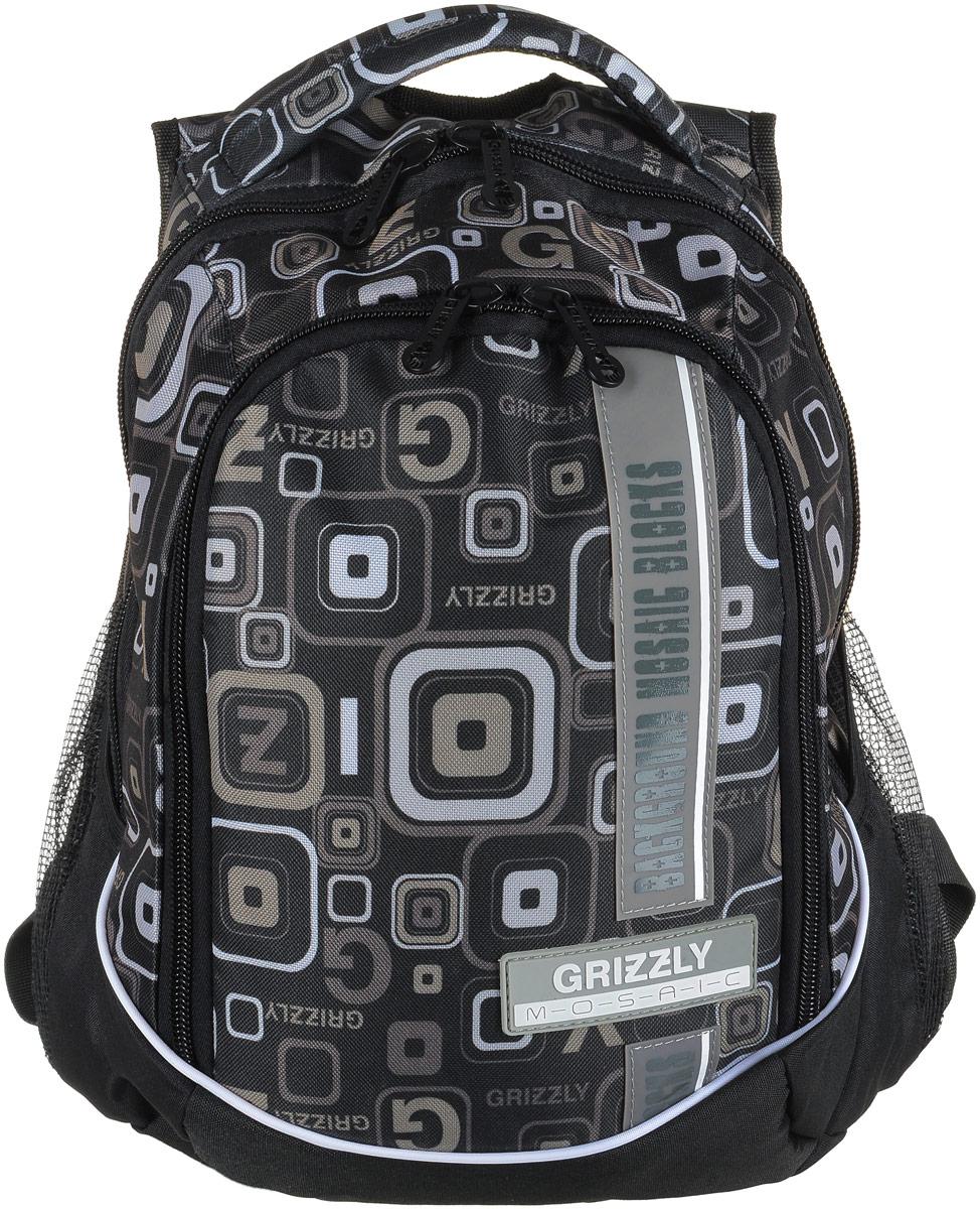 Рюкзак мужской Grizzly, цвет: черный, серый. RU-707-5/5RivaCase 8460 aquamarineРюкзак Grizzly - это красивый и удобный рюкзак, который подойдет всем, кто хочет разнообразить свои будни. Рюкзак выполнен из плотного материала с оригинальным графическим принтом. Рюкзак содержит два вместительных отделения, каждое из которых закрывается на молнию. Внутри первого отделения имеется накладной карман на застежке-молнии. Второе отделение содержит два открытых накладных кармана и три кармашка под канцелярские принадлежности. Снаружи, по бокам изделия, расположены два открытых накладных сетчатых кармана. Рюкзак оснащен мягкой ручкой для переноски и двумя удобными лямками регулируемой длины.Практичный рюкзак станет незаменимым аксессуаром и вместит в себя все необходимое.