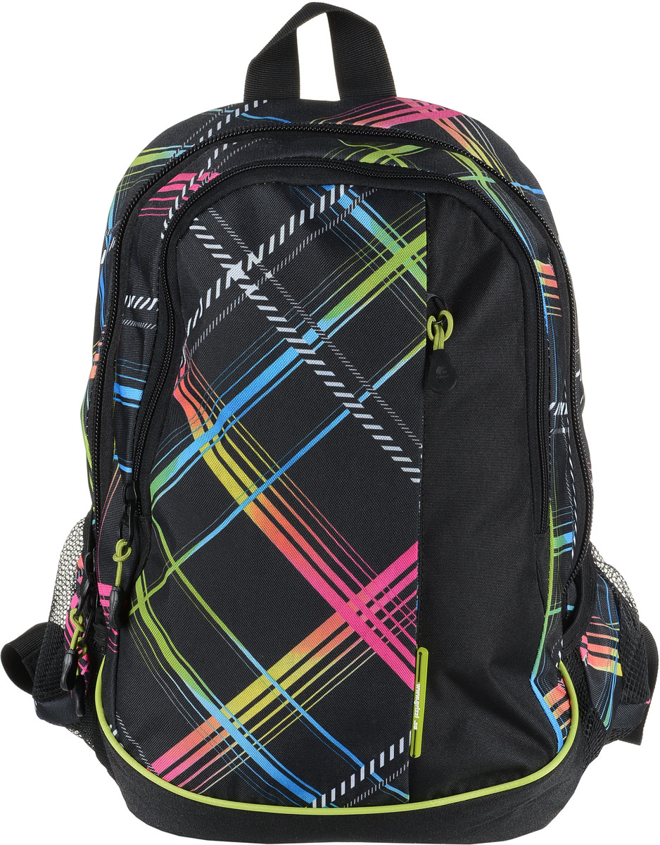 Рюкзак мужской Grizzly, цвет: черный, красный, синий. RU-707-6/1Z90 blackРюкзак Grizzly - это красивый и удобный рюкзак, который подойдет всем, кто хочет разнообразить свои будни. Рюкзак выполнен из плотного материала с оригинальным графическим принтом. Рюкзак содержит два вместительных отделения, каждое из которых закрывается на молнию. Внутри первого отделения имеется подвесной кармашек на молнии. Второе отделение содержит три открытых накладных кармана и три кармашка под канцелярские принадлежности. Снаружи, по бокам изделия, расположены два открытых накладных кармана. Лицевая сторона дополнена вместительным карманом на застежке-молнии. Рюкзак оснащен петлей для переноски или подвешивания и двумя практичными лямками регулируемой длины.Практичный рюкзак станет незаменимым аксессуаром и вместит в себя все необходимое.