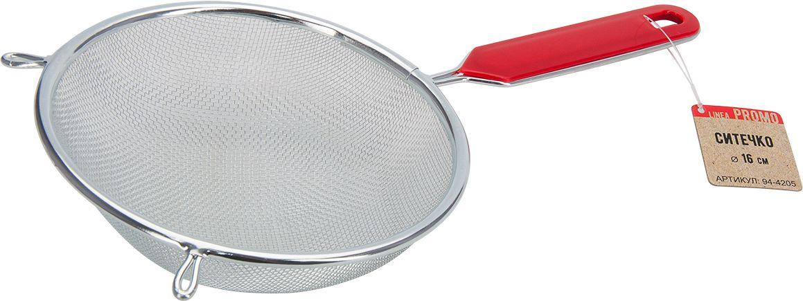Ситечко Regent Inox Promo, диаметр 16 см115510Ситечко Regent Inox Promo, выполненное из нержавеющей стали, станет незаменимым аксессуаром на вашей кухне. Оно предназначено для просеивания и процеживания. Две специальные петли и комфортная ручка дают возможность ставить ситечко в кастрюле и других посудах. Такое ситечко станет достойным дополнением к кухонному инвентарю.Диаметр ситечка по верхнему краю: 16 см.Глубина ситечка: 6,5 см.Длина ручки: 13,5 см.