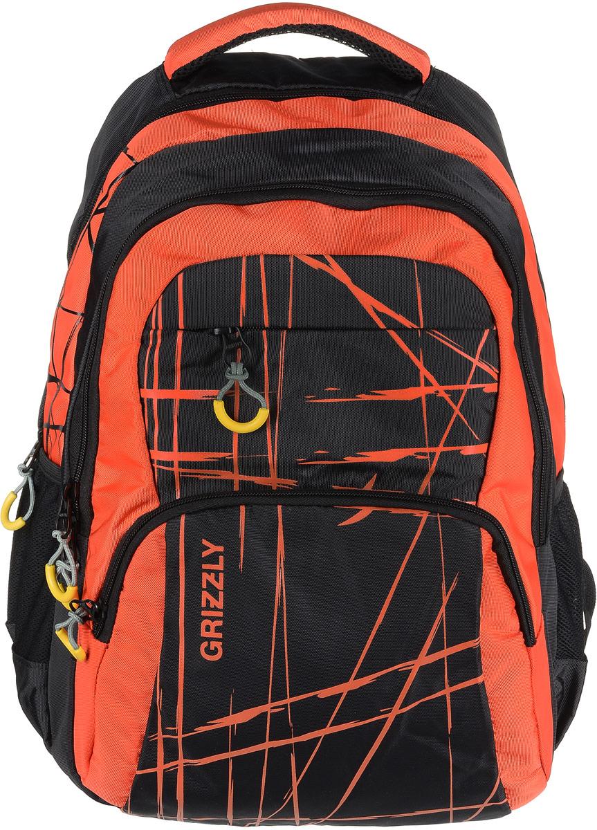 Рюкзак мужской Grizzly, цвет: черный, оранжевый. RU-715-3/395940-905Рюкзак Grizzly - это красивый и удобный рюкзак, который подойдет всем, кто хочет разнообразить свои будни. Рюкзак выполнен из плотного материала с оригинальным принтом. Рюкзак содержит два вместительных отделения, каждое из которых закрывается на молнию. Внутри первого отделения имеется открытый накладной карман, на стенке которого расположился врезной карман на молнии. Внутри второго отделения расположены три открытых накладных кармана и карман-сетка на молнии. Снаружи, по бокам изделия, расположены два открытых кармана. Лицевая сторона дополнена двумя вместительными карманами на молниях. Рюкзак оснащен мягкой укрепленной ручкой для переноски, петлей для подвешивания и двумя практичными лямками регулируемой длины. У лямок имеется нагрудная стяжка-фиксатор. Практичный рюкзак станет незаменимым аксессуаром и вместит в себя все необходимое.