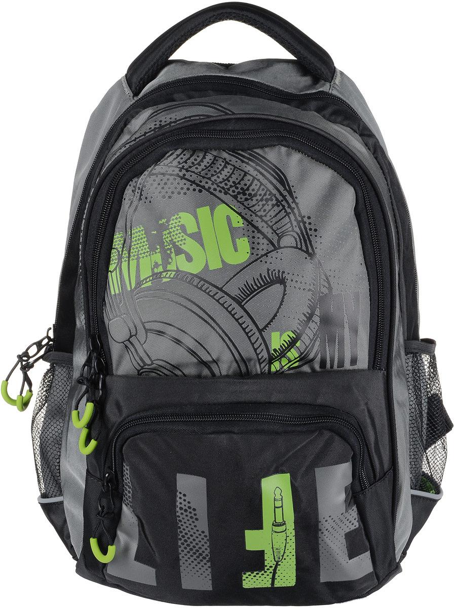 Рюкзак мужской Grizzly, цвет: серый, светло-зеленый. RU-715-1/2ГризлиРюкзак Grizzly - это красивый и удобный рюкзак, который подойдет всем, кто хочет разнообразить свои будни. Рюкзак выполнен из плотного материала с оригинальным принтом. Рюкзак содержит два вместительных отделения, каждое из которых закрывается на молнию. Внутри первого отделения имеется открытый накладной карман, на стенке которого расположился врезной карман на молнии. Внутри второго отделения расположены два открытых накладных кармана, два кармашка под канцелярские принадлежности и один врезной карман на молнии. Снаружи, по бокам изделия, расположены два сетчатых кармана. Лицевая сторона дополнена вместительным карманом на застежке-молнии. Рюкзак оснащен мягкой укрепленной ручкой для переноски, петлей для подвешивания и двумя практичными лямками регулируемой длины. Изделие дополнено светоотражающими элементами. Практичный рюкзак станет незаменимым аксессуаром и вместит в себя все необходимое.