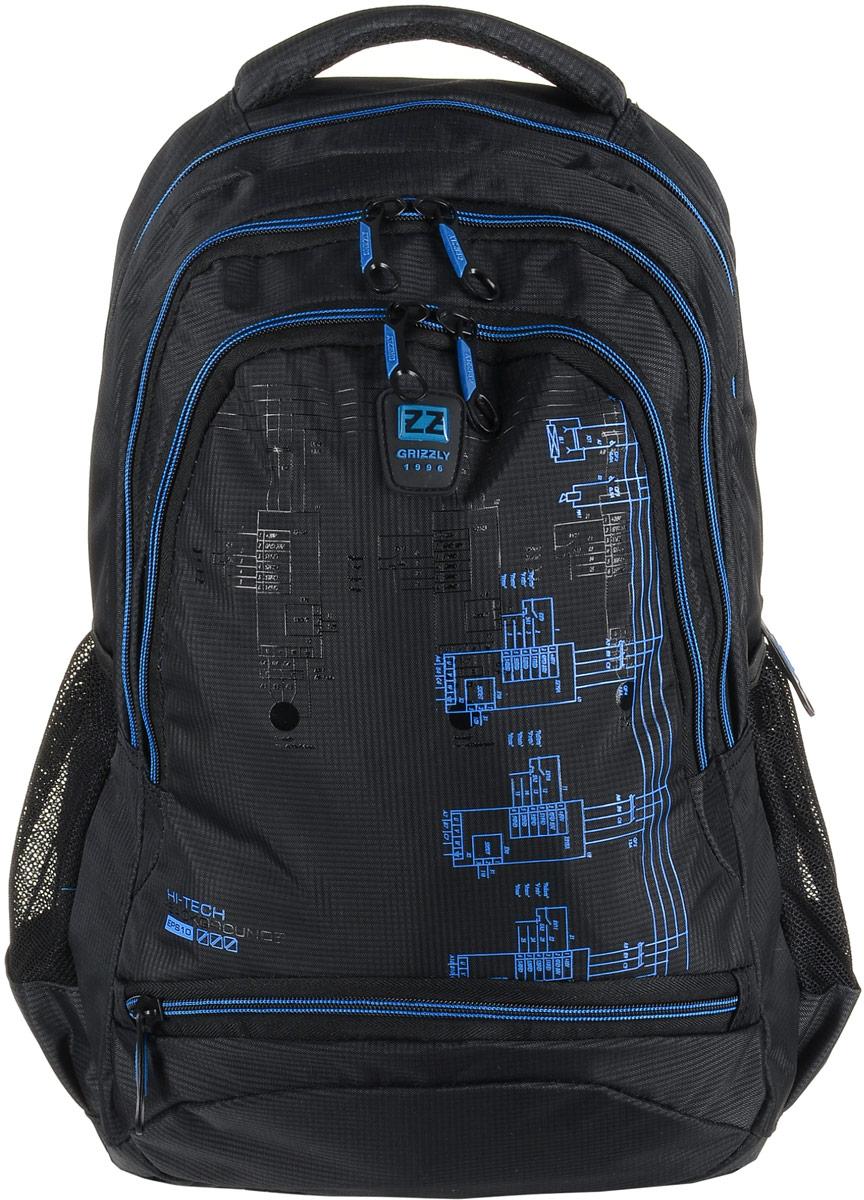Рюкзак мужской Grizzly, цвет: темно-серый, синий. RU-722-2/395429-924Рюкзак Grizzly - это красивый и удобный рюкзак, который подойдет всем, кто хочет разнообразить свои будни. Рюкзак выполнен из плотного материала с оригинальным принтом. Рюкзак содержит три вместительных отделения, каждое из которых закрывается на молнию. Внутри первого отделения имеется открытый накладной карман, на стенке которого расположился врезной карман на молнии. Второе отделение не содержит дополнительных карманов. Внутри третьего отделения расположены четыре открытых накладных кармашка. Снаружи, по бокам изделия, расположены два открытых сетчатых кармана. Лицевая сторона снизу дополнена карманом на застежке-молнии. Рюкзак оснащен мягкой укрепленной ручкой для переноски, петлей для подвешивания и двумя практичными лямками регулируемой длины. У лямок имеется нагрудная стяжка-фиксатор.Практичный рюкзак станет незаменимым аксессуаром и вместит в себя все необходимое.