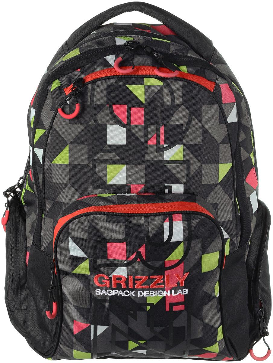 Рюкзак мужской Grizzly, цвет: черный, красный, серый. RU-709-2/3INT-06501Рюкзак Grizzly - это красивый и удобный рюкзак, который подойдет всем, кто хочет разнообразить свои будни. Рюкзак выполнен из плотного материала с оригинальным графическим принтом. Рюкзак содержит два вместительных отделения, каждое из которых закрывается на молнию. Внутри первого отделения имеется открытый накладной карман, на стенке которого расположился врезной карман на молнии. Второе отделение не содержит дополнительных карманов. Снаружи, по бокам изделия, расположены два кармана на застежках-молниях. Лицевая сторона дополнена двумя карманами на застежках-молниях. В нижнем кармане расположены четыре открытых накладных кармашка.Рюкзак оснащен мягкой укрепленной ручкой для переноски, петлей для подвешивания и двумя практичными лямками регулируемой длины.Практичный рюкзак станет незаменимым аксессуаром и вместит в себя все необходимое.