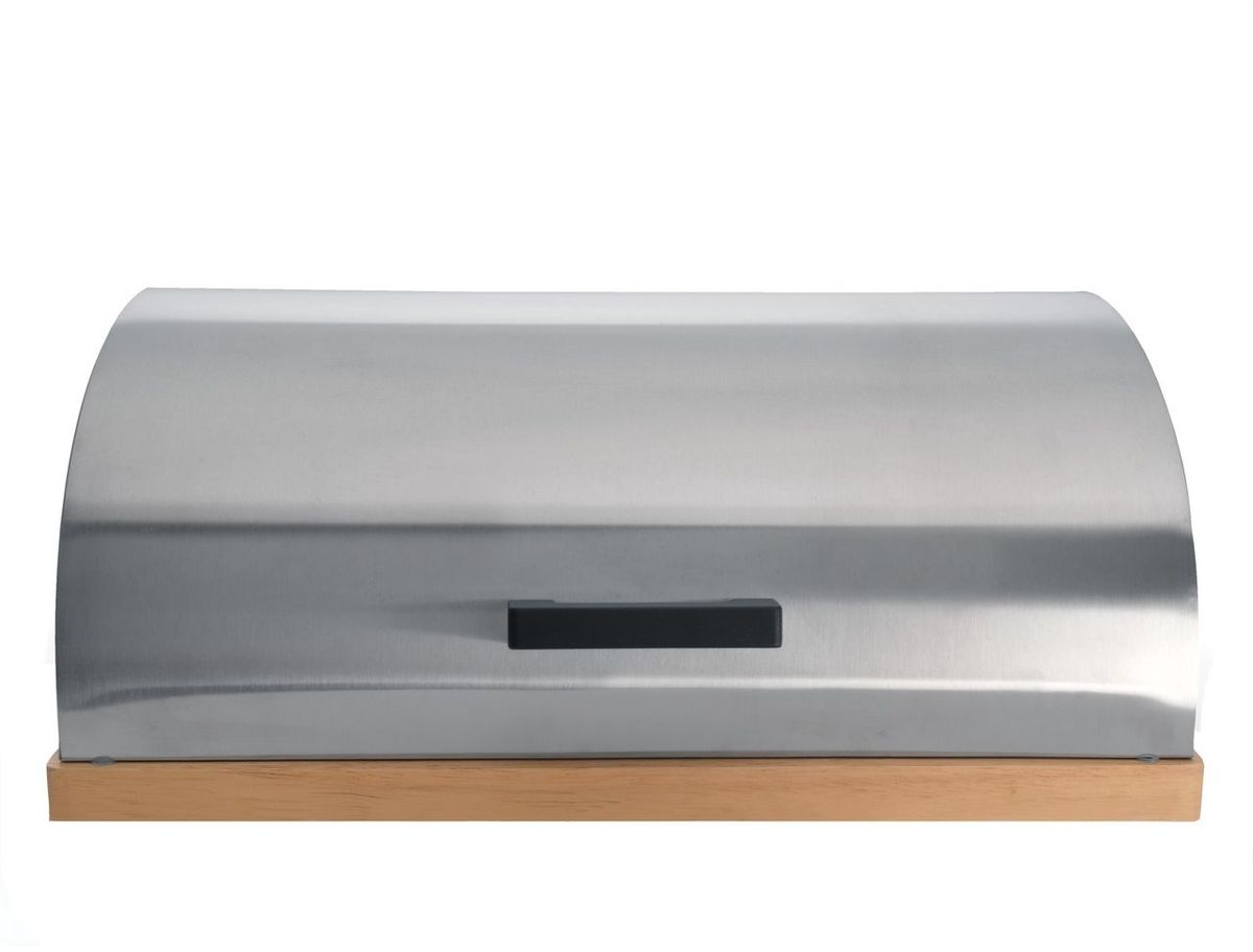 Хлебница BergHOFF Cubo, 28 х 39 х 16,5 см7000 WB_зеленыйХлебница BergHOFF Cubo состоит из 2-х частей: нижняя часть – из светлого дерева, которую так же можно использовать как разделочную доску при нарезке хлеба; верхняя часть хлебницы откидная, изготовлена из нержавеющей стали 18/10 с матовой полировкой. Имеет вентиляционные отверстия, что не позволит хлебу отсыревать. Внутри хлебницы есть силиконовые прокладки для мягкого закрывания.