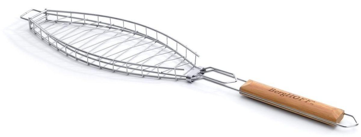 Решетка-гриль для рыбы BergHOFF, 67,2 x 14,6 см54 009312Решетка-гриль для рыбы BergHOFF на мангале изготовлена из нержавеющей стали, имеет деревянные ручки для комфортной работы. Удобная защелка гарантирует надежность размещения продукта.