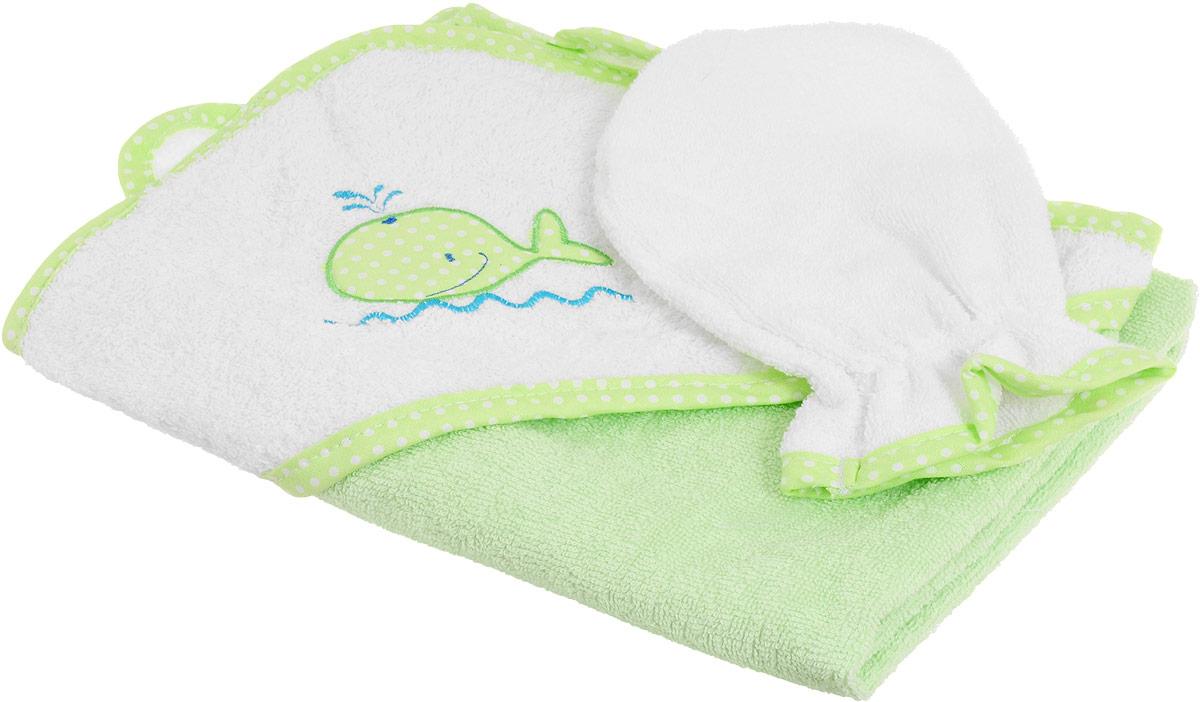 Фея Комплект для купания Кит цвет салатовый белый 2 предмета -  Полотенца