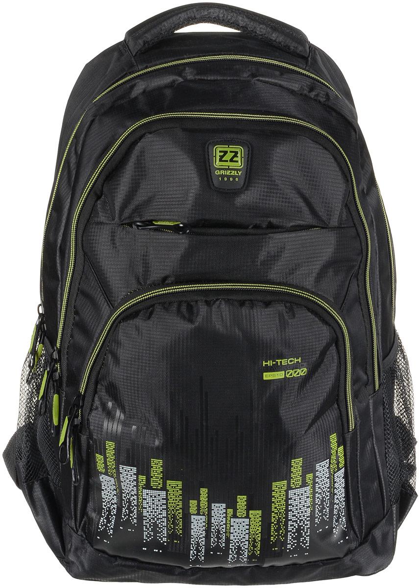 Рюкзак мужской Grizzly, цвет: черный, светло-зеленый. RU-722-1/1RU-722-1/1Рюкзак Grizzly - это красивый и удобный рюкзак, который подойдет всем, кто хочет разнообразить свои будни. Рюкзак выполнен из плотного материала с оригинальным принтом. Рюкзак содержит два вместительных отделения, каждое из которых закрывается на молнию. Внутри первого отделения имеется открытый накладной карман, на стенке которого расположился врезной карман на молнии. Внутри второго отделения расположены два открытых накладных кармана и два кармашка под канцелярские принадлежности. Снаружи, по бокам изделия, расположены два сетчатых кармана. Лицевая сторона дополнена двумя вместительными карманами на молниях. Рюкзак оснащен мягкой укрепленной ручкой для переноски, петлей для подвешивания и двумя практичными лямками регулируемой длины. У лямок имеется нагрудная стяжка-фиксатор. Практичный рюкзак станет незаменимым аксессуаром и вместит в себя все необходимое.