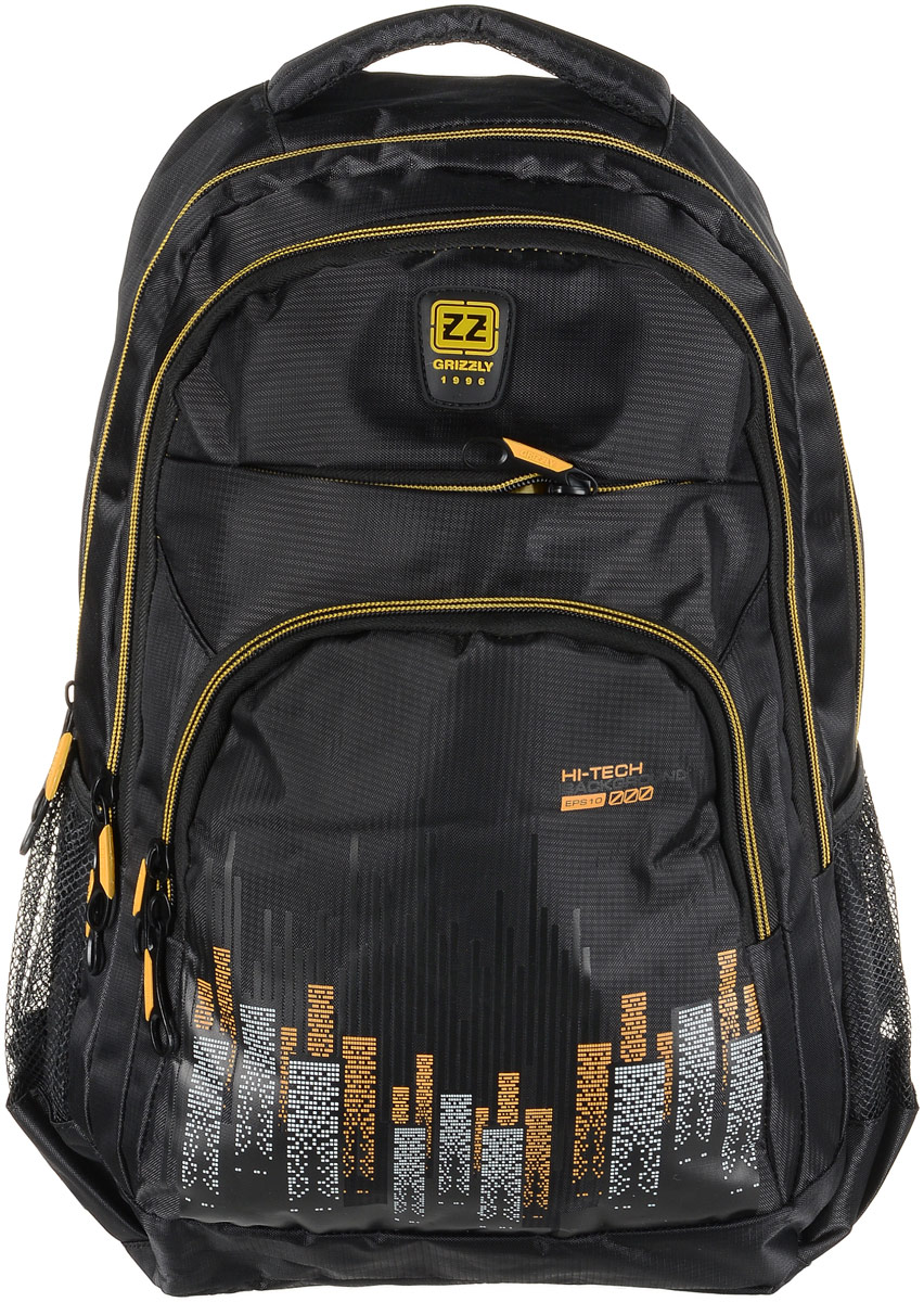 Рюкзак мужской Grizzly, цвет: черный, желтый. RU-722-1/2RivaCase 8460 aquamarineРюкзак Grizzly - это красивый и удобный рюкзак, который подойдет всем, кто хочет разнообразить свои будни. Рюкзак выполнен из плотного материала с оригинальным принтом. Рюкзак содержит два вместительных отделения, каждое из которых закрывается на молнию. Внутри первого отделения имеется открытый накладной карман, на стенке которого расположился врезной карман на молнии. Внутри второго отделения расположены два открытых накладных кармана и два кармашка под канцелярские принадлежности. Снаружи, по бокам изделия, расположены два сетчатых кармана. Лицевая сторона дополнена двумя вместительными карманами на молниях. Рюкзак оснащен мягкой укрепленной ручкой для переноски, петлей для подвешивания и двумя практичными лямками регулируемой длины. У лямок имеется нагрудная стяжка-фиксатор. Практичный рюкзак станет незаменимым аксессуаром и вместит в себя все необходимое.