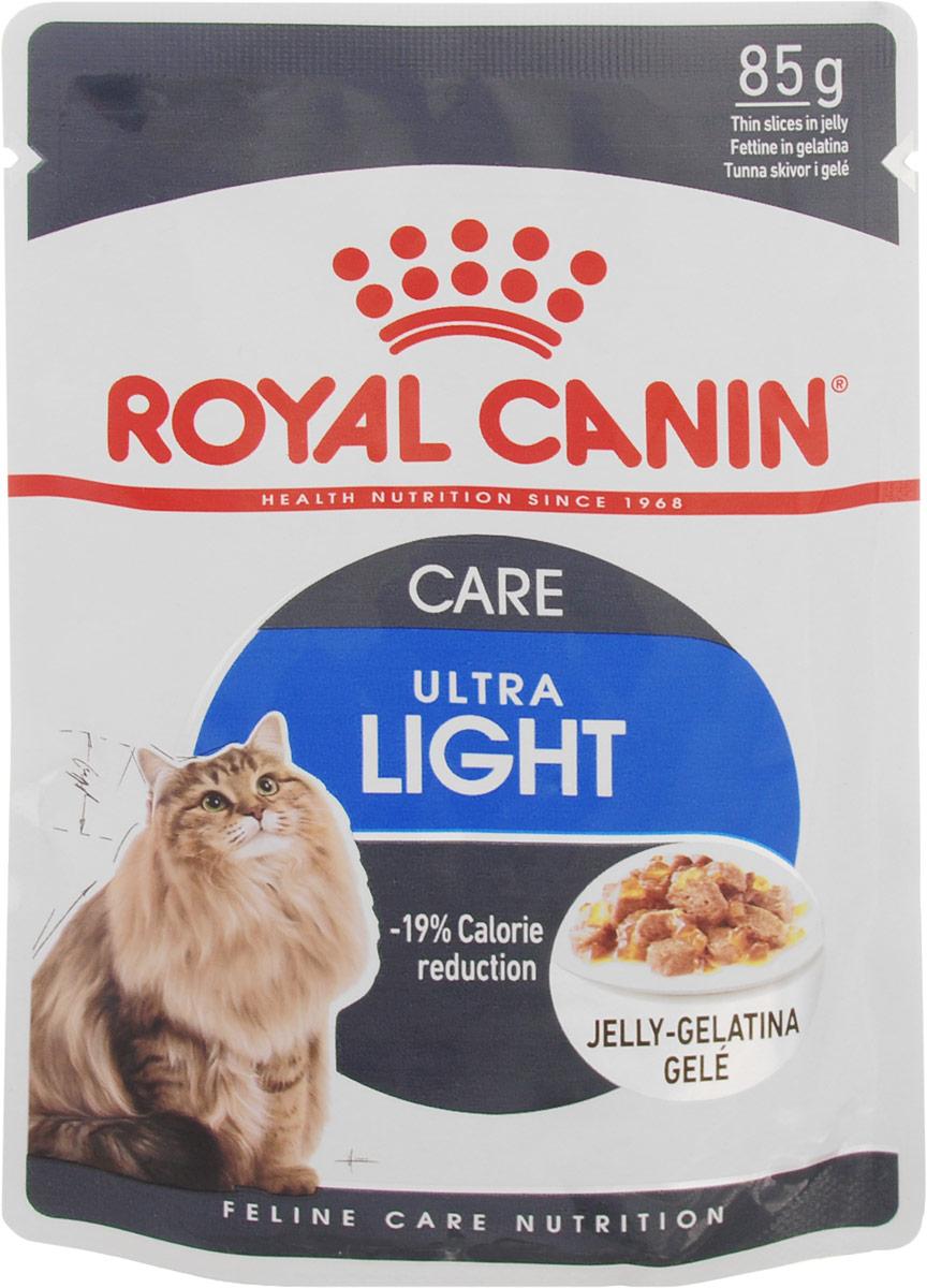 Консервы Royal Canin Ultra Light, для кошек, склонных к полноте, мелкие кусочки в желе, 85 г786001Консервы Royal Canin Ultra Light - полнорационный влажный корм рекомендован кошкам старше 1 года. Излишний вес может нанести вред здоровью вашей кошки! Излишний вес у кошек обычно бывает вызван несбалансированностью между поступлением энергии (слишком большим количеством еды или высококалорийной диетой) и расходом энергии (недостаточной подвижностью).У взрослых кошек, особенно имеющих лишний вес, может развиться мочекаменная болезнь, возникающая из-за недостаточного потребления воды и редкого мочеиспусканияЕсли при похудении используется питание с недостаточным содержанием белка, возможны потери не только жировой, но и мышечной массы кошки. -19% калорий.Влажный корм Ultra Light 10 помогает сократить количество спонтанно потребляемых кошкой калорий. L-карнитин стимулирует расщепление жиров. Поддержание мышечной массы.Способствует поддержанию мышечной массы кошки благодаря высокому содержанию биологически ценного протеина и потере жировой массы при похудении. Здоровье мочевыделительной системы.Помогает поддержать здоровье мочевыделительной системы кошки, сокращая концентрацию минеральных веществ, способствующих образованию мочевых камней. Состав: мясо и мясные субпродукты, злаки, яйца и яйцепродукты, субпродукты растительного происхождения, минеральные вещества, углеводы.Добавки (в 1 кг):Витамин D3: 145 ME, Железо: 7 мг, Йод: 0,07 мг, Марганец: 2 мг, Цинк: 22 мг, L-карнитин: 40 мг. Товар сертифицирован. УВАЖАЕМЫЕ КЛИЕНТЫ! Обращаем ваше внимание на возможные изменения в дизайне упаковки. Качественные характеристики товара и его размеры остаются неизменными. Поставка осуществляется в зависимости от наличия на складе.