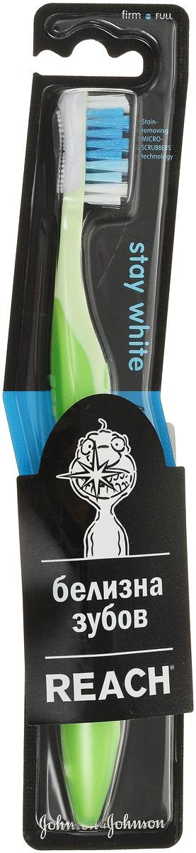 Reach Зубная щетка Stay White, жесткая, цвет: салатовый5010777139655Зубная щетка Reach Stay White 2 в 1: эффективная чистка зубов + отбеливание. Уникальная запатентованная система Micro-Scrubbers удаляет зубной налет и предотвращает его появление, позволяя зубам оставаться белыми. Полирующая щеточка для отбеливания зубов вынесена на заднюю сторону головки;Разноуровневая щетина для эффективной чистки зубов; Эргономичный дизайн ручки для лучшего контроля чистки.Товар сертифицирован.