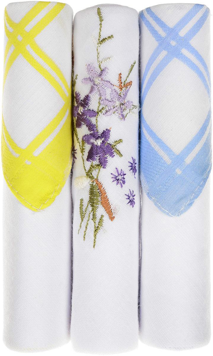 Платок носовой женский Zlata Korunka, цвет: желтый, белый, голубой, 3 шт. 40423-26. Размер 28 см х 28 смБрелок для сумкиНебольшой женский носовой платок Zlata Korunka изготовлен из высококачественного натурального хлопка, благодаря чему приятен в использовании, хорошо стирается, не садится и отлично впитывает влагу. Практичный и изящный носовой платок будет незаменим в повседневной жизни любого современного человека. Такой платок послужит стильным аксессуаром и подчеркнет ваше превосходное чувство вкуса.В комплекте 3 платка.
