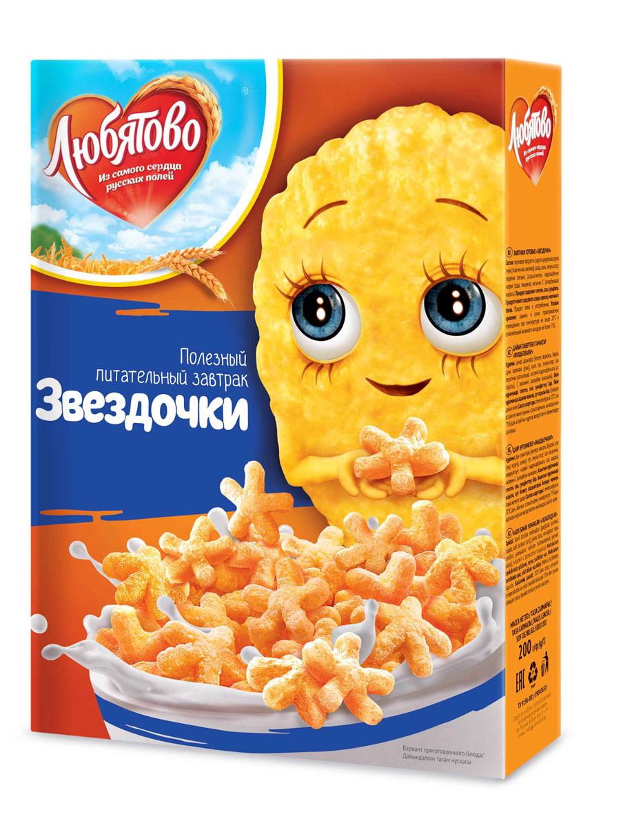 Любятово Готовый завтрак Звездочки, 200 гбмя040Готовый завтрак в виде космических звездочек.