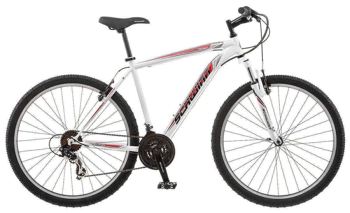 Велосипед горный Schwinn High Timber, мужской, цвет: белый, красный, рама 18, колеса 27,5MW-1462-01-SR серебристыйSchwinn High Timber – это надежный велосипед для передвижения по пересеченной местности. Хотите кататься по любым ландшафтам с комфортом, устойчивостью, маневренностью и главное безопасностью? С горным велосипедом Schwinn High Timber со спортивной посадкой любой мужчина сможет стать покорителем вершин и бездорожья. Амортизационная вилка, которая отлично отрабатывает неровности, оснащена подпружиненными пыльниками, не пропускающими пыль и влагу внутрь, для большего срока службы вилки. Простые в настройке и обслуживании ободные тормоза отлично работают в любую погоду. Переключатели Shimano подарят непревзойденную надежность и качество при смене передач.Особенности:Прочная стальная MTB рама размером 18.Амортизационная вилка с подпружиненными пыльниками.Простые в настройке и обслуживании ободные тормоза для любой погоды.Переключатели передач Shimano Tourney.21 скорость.Руль и седло регулируются по высоте и наклону.Защита цепи.Алюминиевые обода.Быстросъемные колеса на эксцентриковых осях.Подножка в комплекте.Колеса 27,5.