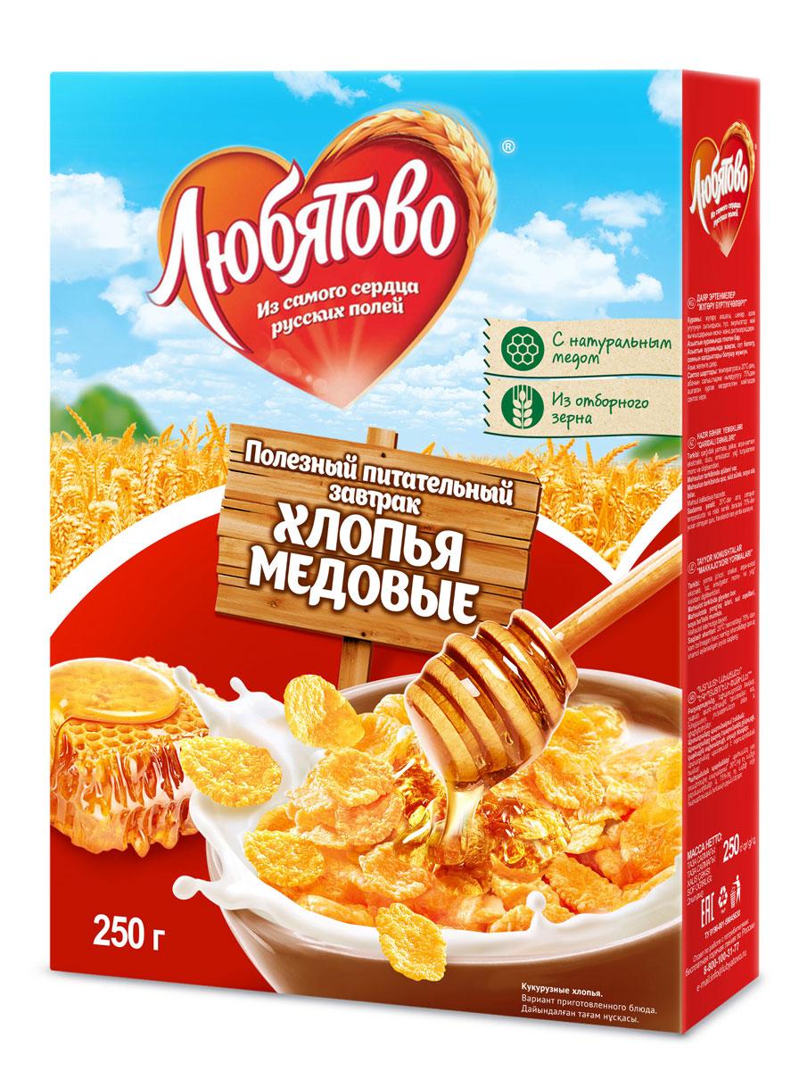 Любятово Готовый завтрак Хлопья кукурузные медовые, 250 г0120710Полезный завтрак из цельных злаков с добавлением меда.