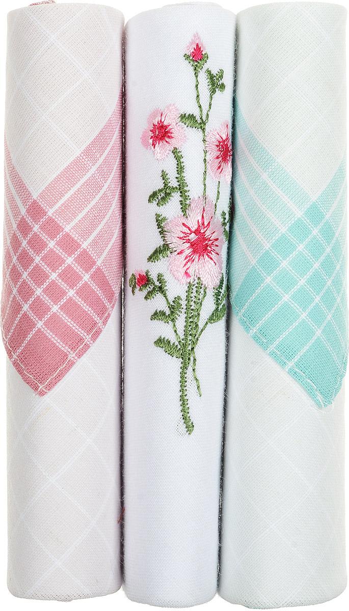 Платок носовой женский Zlata Korunka, цвет: розовый, белый, бирюзовый, 3 шт. 40423-128. Размер 28 см х 28 смСерьги с подвескамиНебольшой женский носовой платок Zlata Korunka изготовлен из высококачественного натурального хлопка, благодаря чему приятен в использовании, хорошо стирается, не садится и отлично впитывает влагу. Практичный и изящный носовой платок будет незаменим в повседневной жизни любого современного человека. Такой платок послужит стильным аксессуаром и подчеркнет ваше превосходное чувство вкуса.В комплекте 3 платка.