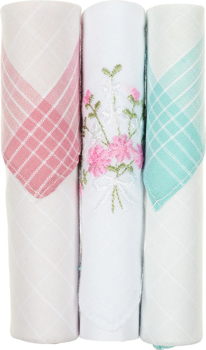 Платок носовой женский Zlata Korunka, цвет: розовый, белый, бирюзовый, 3 шт. 40423-71. Размер 28 см х 28 смАромакулонНебольшой женский носовой платок Zlata Korunka изготовлен из высококачественного натурального хлопка, благодаря чему приятен в использовании, хорошо стирается, не садится и отлично впитывает влагу. Практичный и изящный носовой платок будет незаменим в повседневной жизни любого современного человека. Такой платок послужит стильным аксессуаром и подчеркнет ваше превосходное чувство вкуса.В комплекте 3 платка.