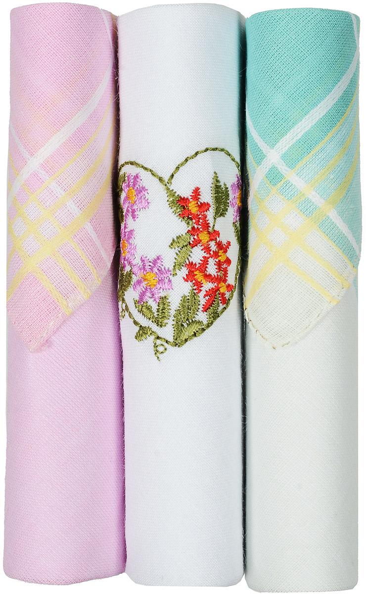 Платок носовой женский Zlata Korunka, цвет: розовый, белый, бирюзовый, 3 шт. 40423-77. Размер 28 см х 28 смСерьги с подвескамиНебольшой женский носовой платок Zlata Korunka изготовлен из высококачественного натурального хлопка, благодаря чему приятен в использовании, хорошо стирается, не садится и отлично впитывает влагу. Практичный и изящный носовой платок будет незаменим в повседневной жизни любого современного человека. Такой платок послужит стильным аксессуаром и подчеркнет ваше превосходное чувство вкуса.В комплекте 3 платка.