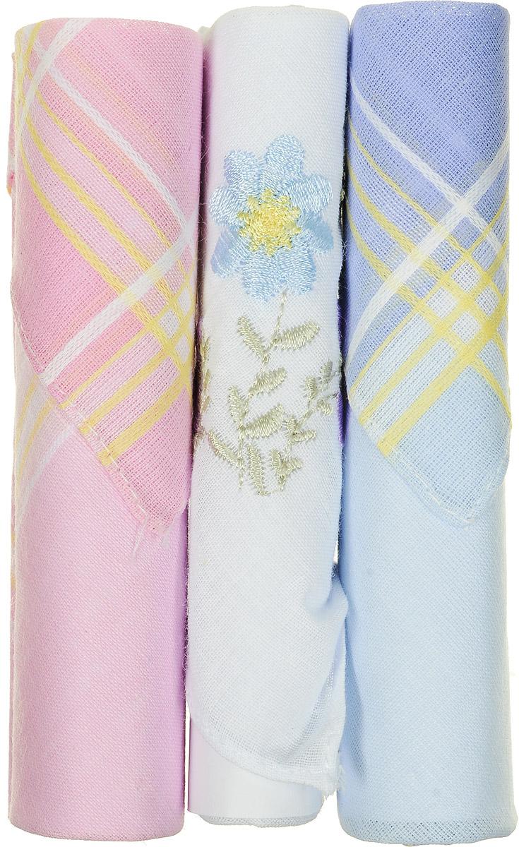 Платок носовой женский Zlata Korunka, цвет: голубой, белый, розовый, 3 шт. 40423-46. Размер 28 см х 28 смСерьги с подвескамиНебольшой женский носовой платок Zlata Korunka изготовлен из высококачественного натурального хлопка, благодаря чему приятен в использовании, хорошо стирается, не садится и отлично впитывает влагу. Практичный и изящный носовой платок будет незаменим в повседневной жизни любого современного человека. Такой платок послужит стильным аксессуаром и подчеркнет ваше превосходное чувство вкуса.В комплекте 3 платка.