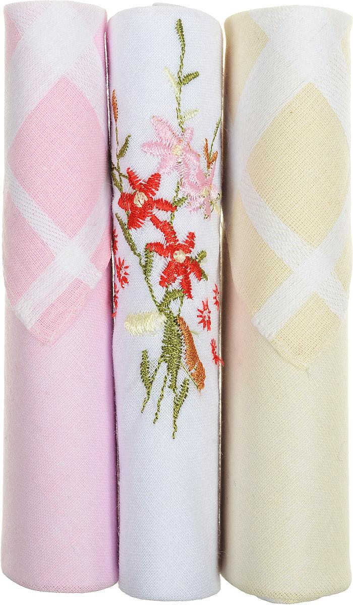 Платок носовой женский Zlata Korunka, цвет: розовый, белый, бежевый, 3 шт. 40423-54. Размер 28 см х 28 см39864|Серьги с подвескамиНебольшой женский носовой платок Zlata Korunka изготовлен из высококачественного натурального хлопка, благодаря чему приятен в использовании, хорошо стирается, не садится и отлично впитывает влагу. Практичный и изящный носовой платок будет незаменим в повседневной жизни любого современного человека. Такой платок послужит стильным аксессуаром и подчеркнет ваше превосходное чувство вкуса.В комплекте 3 платка.