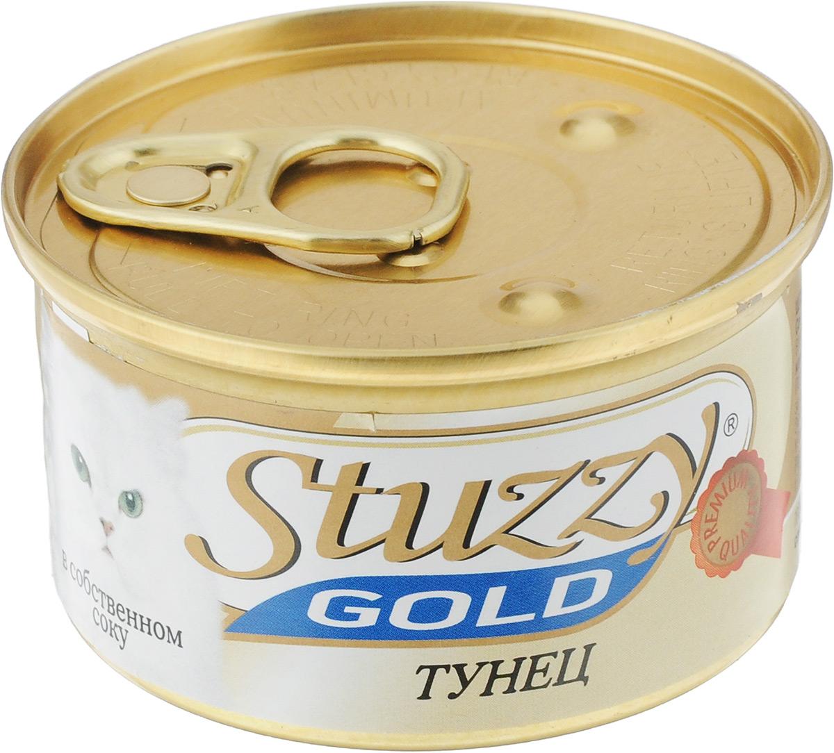 Консервы для кошек Stuzzy Gold, тунец в собственном соку, 85 г132.C402Консервы для кошек Stuzzy Gold - это дополнительный рацион для взрослых кошек. Корм обогащен таурином и витамином Е для поддержания правильной работы сердца и иммунной системы. Инулин обеспечивает всасывание питательных веществ, а биотин способствуют великолепному внешнему виду кожи и шерсти. Корм приготовлен на пару, не содержит красителей и консервантов.Товар сертифицирован.