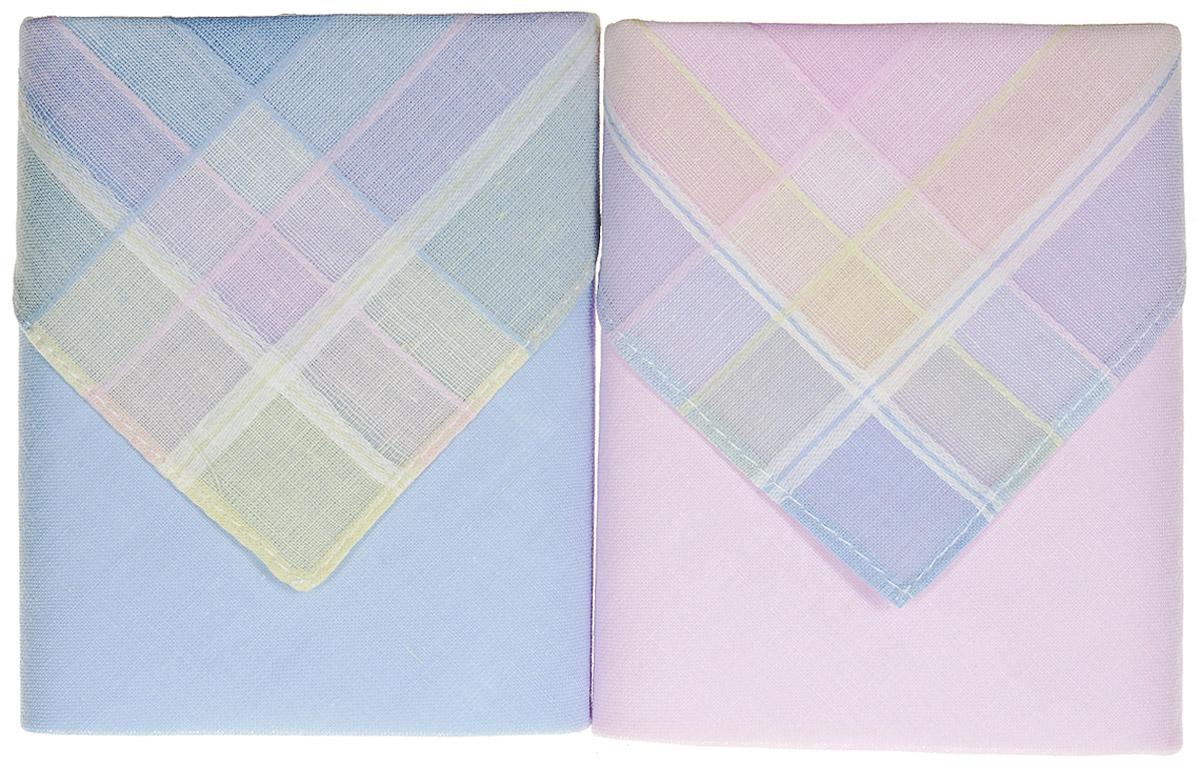 Платок носовой женский Zlata Korunka, цвет: розовый, голубой, 2 шт. 90220-6. Размер 28 см х 28 смБраслет для шармовОригинальный женский носовой платок Zlata Korunka изготовлен из высококачественного натурального хлопка, благодаря чему приятен в использовании, хорошо стирается, не садится и отлично впитывает влагу. Практичный и изящный носовой платок будет незаменим в повседневной жизни любого современного человека. Такой платок послужит стильным аксессуаром и подчеркнет ваше превосходное чувство вкуса.