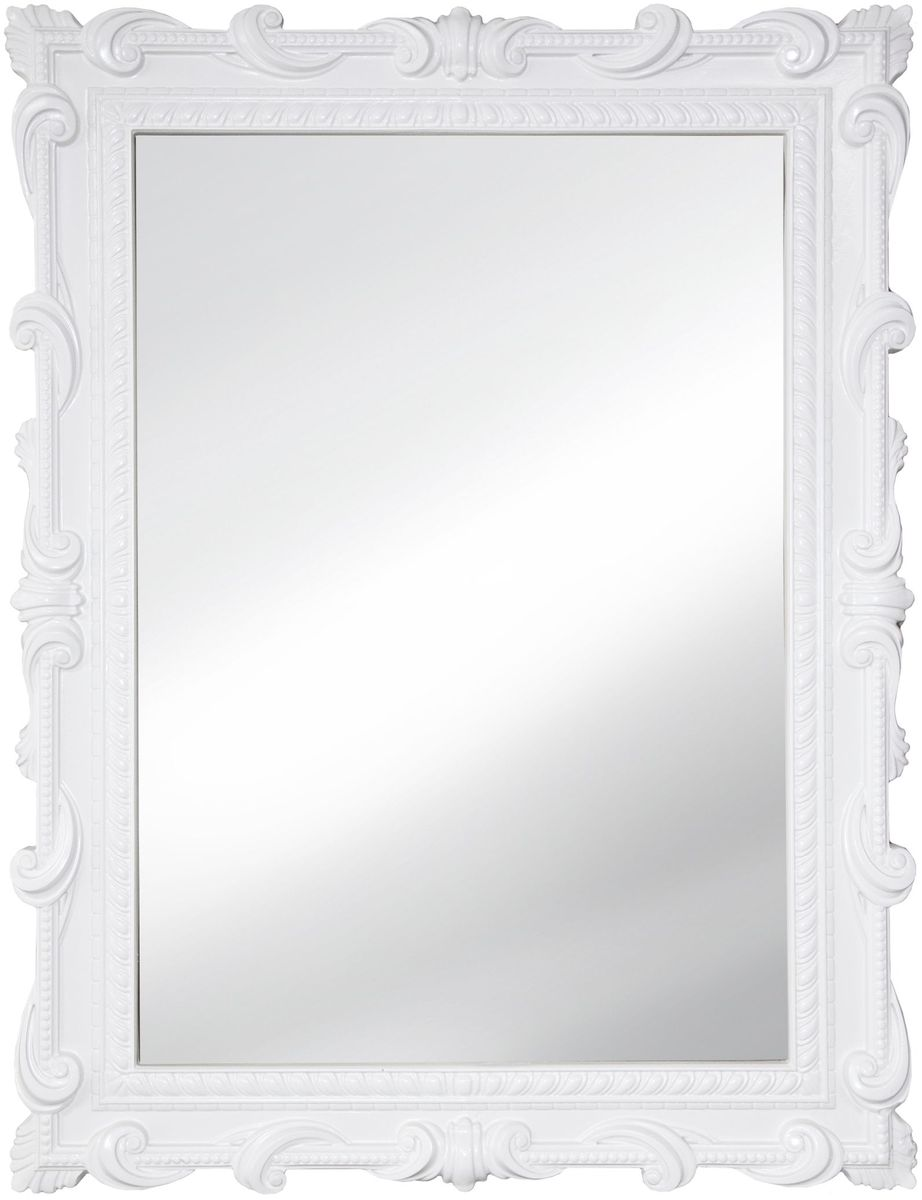 Зеркало VezzoLLi Тениа, цвет: белый, 72 х 94 смFS-91909С обратной стороны зеркало снабжено тремя металлическими подвесами для возможности разместить его и вертикально и горизонтально. Видимый размер зеркала 73х51 см.
