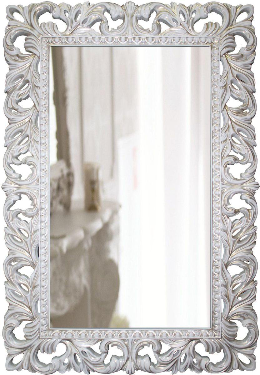 Зеркало VezzoLLi Лиа, цвет: белый, золотая патина, 63 х 95 смFS-91909С обратной стороны зеркало снабжено тремя металлическими подвесами для возможности разместить его и вертикально и горизонтально. Ширина обрамления 12 см. Видимый размер зеркального полотна 72х39 см