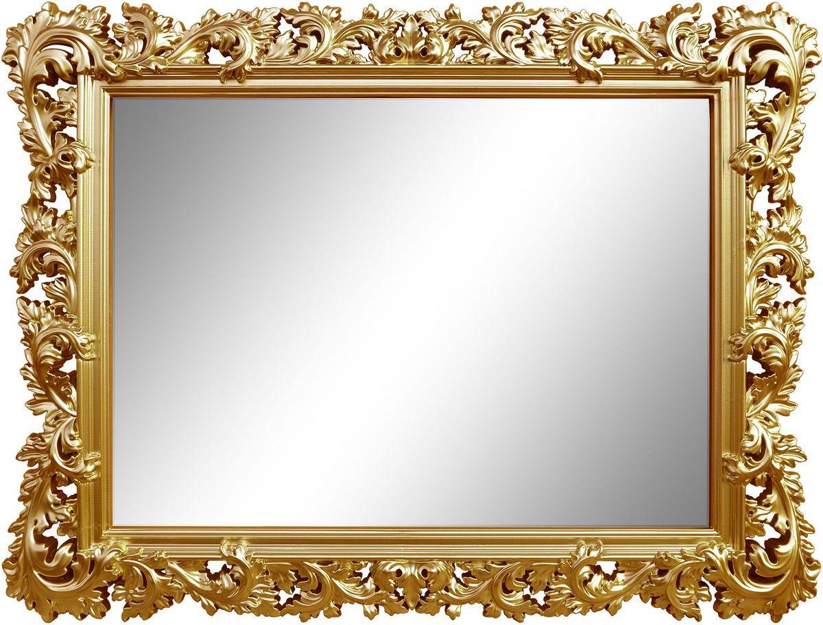 Зеркало VezzoLLi Алиана, цвет: золотой, 88 х 115 см54 009312С обратной стороны зеркало снабжено тремя металлическими подвесами для возможности разместить его и вертикально и горизонтально. Ширина обрамления 15 см.