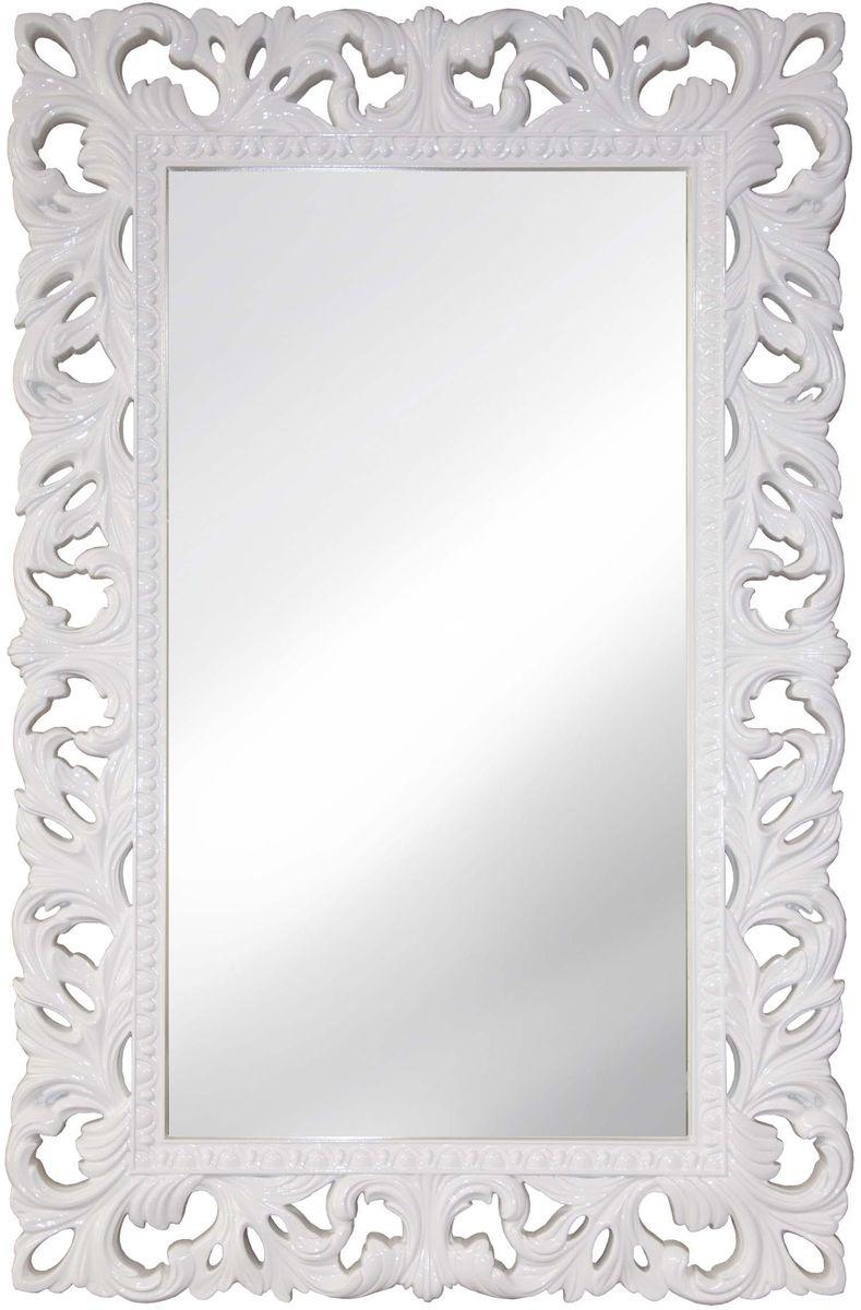 Зеркало VezzoLLi Италиа, цвет: белый, 75 х 115 см54 009312С обратной стороны зеркало снабжено тремя металлическими подвесами для возможности разместить его и вертикально и горизонтально. Видимый размер зеркала 87х46 см. Ширина обрамления 14,5 см.