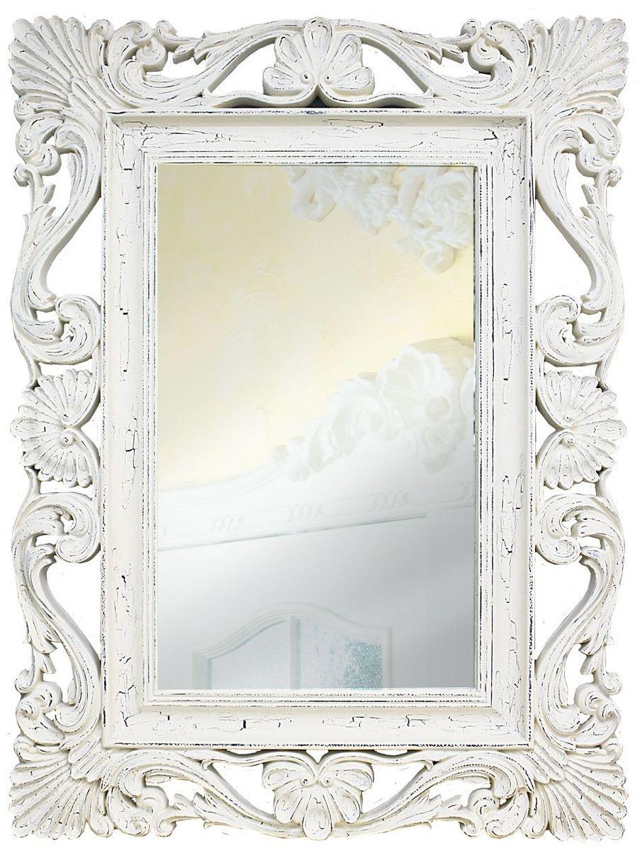 Зеркало VezzoLLi Альберио, цвет: белый, 86 х 114 смFS-91909Рама окрашена в технике состаривания для придания изделию эффекта роскошной древности. С обратной стороны зеркало снабжено тремя металлическими подвесами для возможности разместить его и вертикально и горизонтально. Видимый размер зеркального полотна 74х46 см.