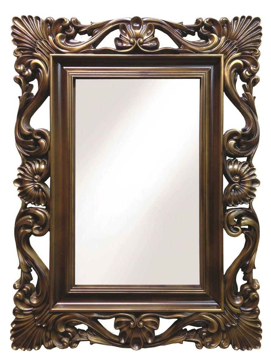 Зеркало VezzoLLi Альберио, цвет: коричневый, 86 х 114 см43412С обратной стороны зеркало снабжено тремя металлическими подвесами для возможности разместить его и вертикально и горизонтально. Видимый размер зеркального полотна 74х46 см.