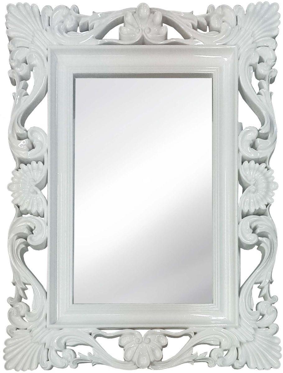 Зеркало VezzoLLi Альберио, цвет: белый, 86 х 114 смFS-91909С обратной стороны зеркало снабжено тремя металлическими подвесами для возможности разместить его и вертикально и горизонтально. Видимый размер зеркального полотна 74х46 см.