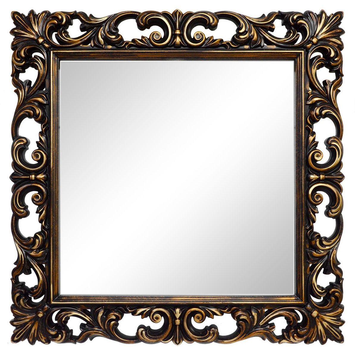Зеркало VezzoLLi Нованто, цвет: коричневый, 90 х 90 см54 009312Подвесы в комплекте. Видимый размер зеркала 63х63 см. Ширина обрамления 13,5 см.