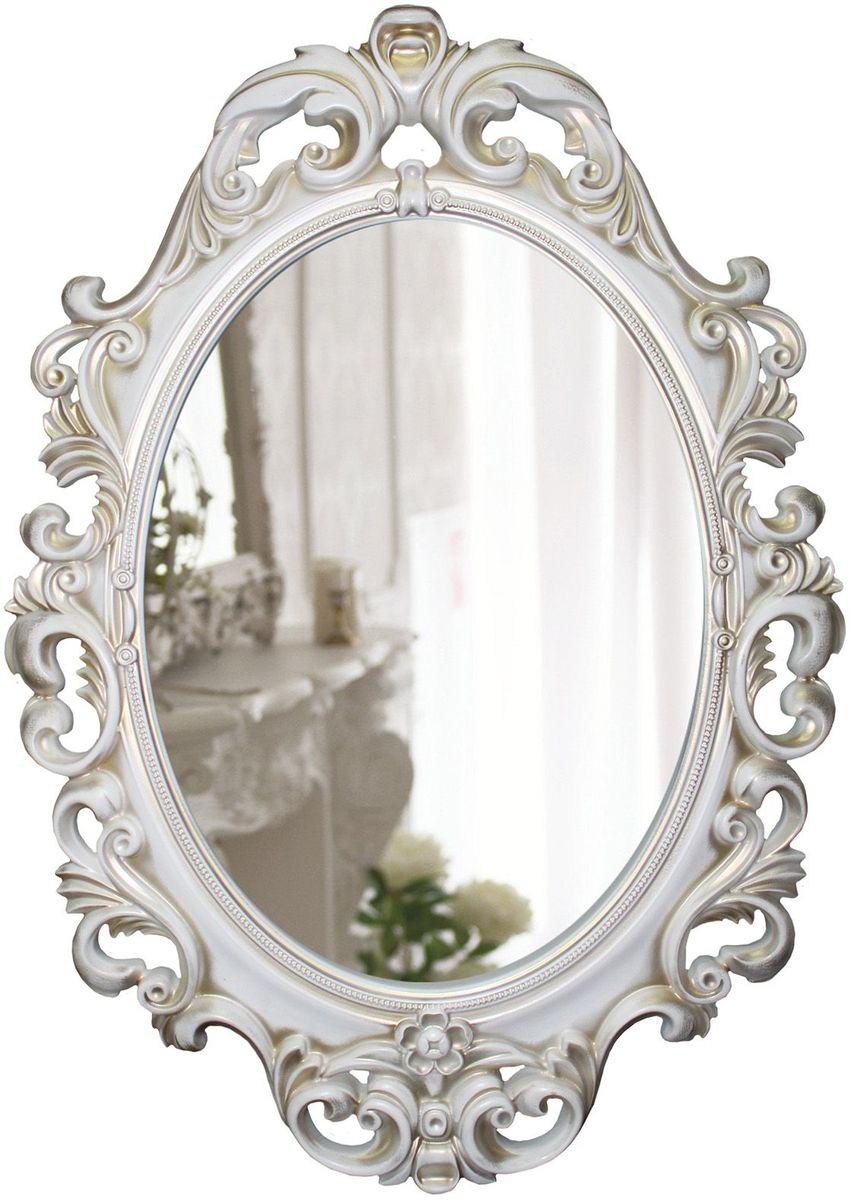 Зеркало VezzoLLi Винтаж, цвет: белый, 67 х 96 см43412С обратной стороны зеркало снабжено двумя металлическими подвесами. Видимый размер зеркального полотна 60х43,5 см.