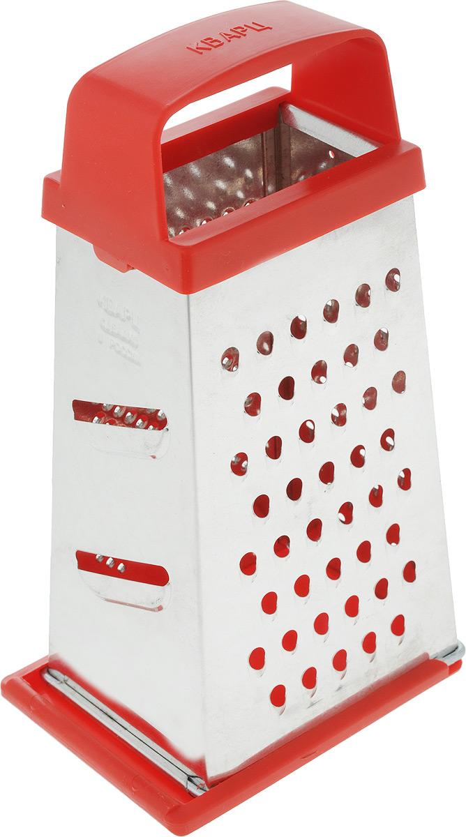 Терка Кварц, четырехгранная, со съемным дном, цвет: серебристый, красный, высота 21 см391602Четырехгранная терка Кварц, выполненная из высококачественной жести и пластика, станет незаменимым атрибутом приготовления пищи. На одном изделии представлены четыре вида терок - крупная, средняя, мелкая и нарезка ломтиками. Терка оснащена съемным дном и удобной ручкой. Терка Кварц станет достойным дополнением к вашему кухонному инвентарю.Высота терки: 21 см.Размер основания: 12 х 9 см.