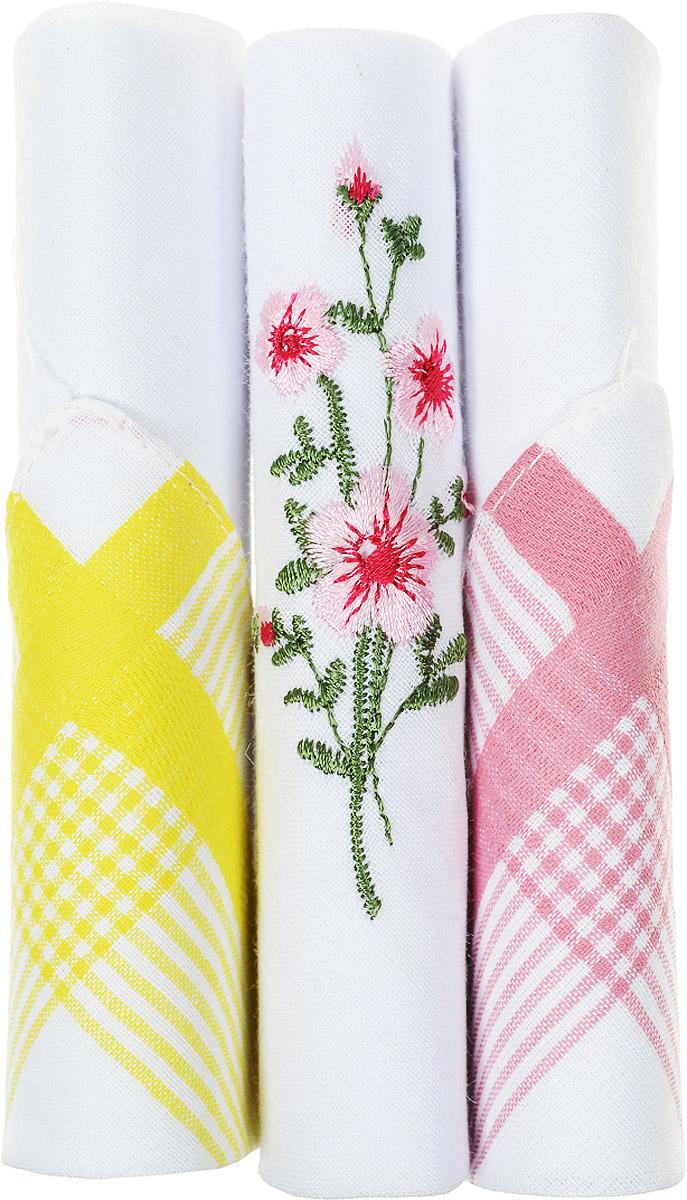 Платок носовой женский Zlata Korunka, цвет: розовый, белый, желтый, 3 шт. 40423-111. Размер 28 см х 28 см39864|Серьги с подвескамиНебольшой женский носовой платок Zlata Korunka изготовлен из высококачественного натурального хлопка, благодаря чему приятен в использовании, хорошо стирается, не садится и отлично впитывает влагу. Практичный и изящный носовой платок будет незаменим в повседневной жизни любого современного человека. Такой платок послужит стильным аксессуаром и подчеркнет ваше превосходное чувство вкуса.В комплекте 3 платка.