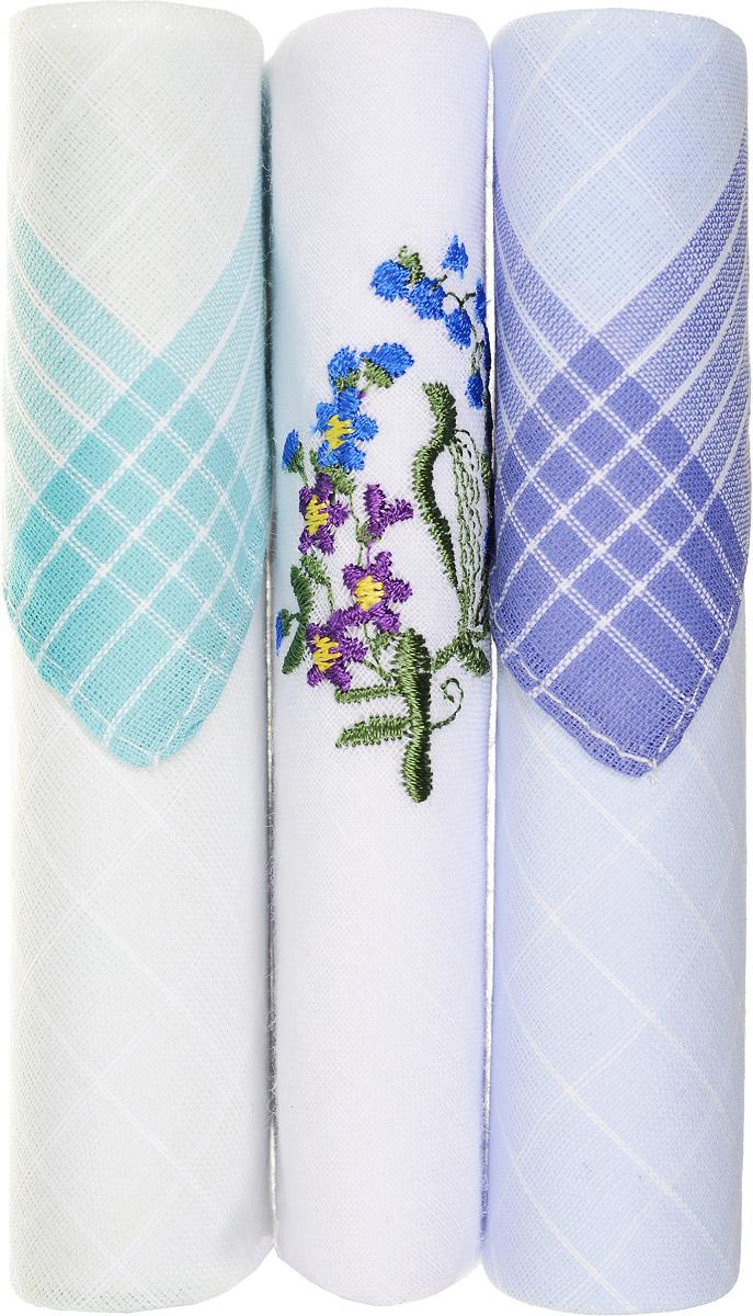 Платок носовой женский Zlata Korunka, цвет: бирюзовый, белый, голубой, 3 шт. 40423-99. Размер 28 см х 28 смСерьги с подвескамиНебольшой женский носовой платок Zlata Korunka изготовлен из высококачественного натурального хлопка, благодаря чему приятен в использовании, хорошо стирается, не садится и отлично впитывает влагу. Практичный и изящный носовой платок будет незаменим в повседневной жизни любого современного человека. Такой платок послужит стильным аксессуаром и подчеркнет ваше превосходное чувство вкуса.В комплекте 3 платка.
