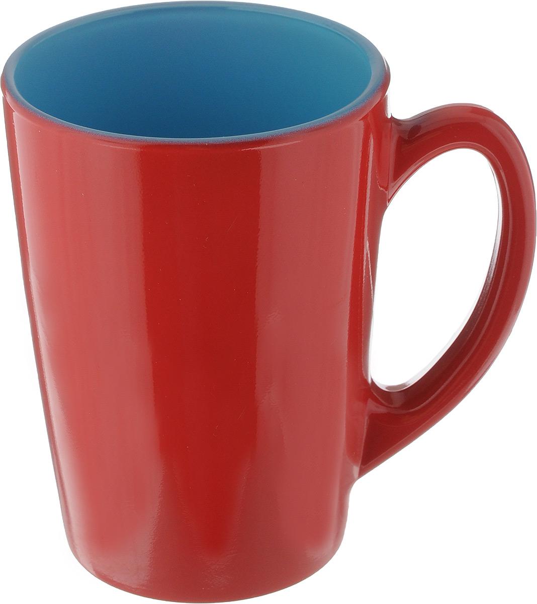 Кружка Luminarc Spring Break, цвет: красный, голубой, 320 мл. J3417-1VT-1520(SR)Кружка Luminarc Spring Break, изготовленная из ударопрочного стекла, прекрасно подойдет для горячих и холодных напитков. Она дополнит коллекцию вашей кухонной посуды и будет служить долгие годы. Можно использовать в микроволновой печи и мыть в посудомоечной машине. Диаметр кружки (по верхнему краю): 8 см.Высота стенки кружки: 11 см.