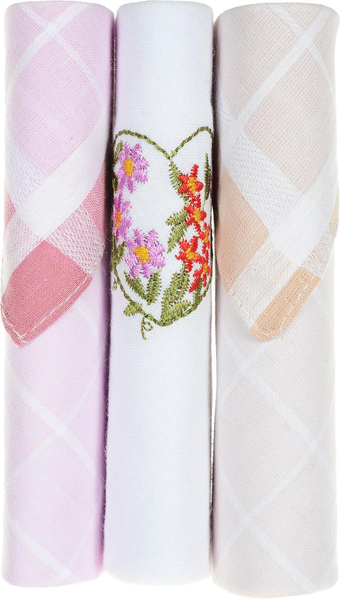 Платок носовой женский Zlata Korunka, цвет: розовый, белый, бежевый, 3 шт. 40423-34. Размер 28 см х 28 см39864|Серьги с подвескамиНебольшой женский носовой платок Zlata Korunka изготовлен из высококачественного натурального хлопка, благодаря чему приятен в использовании, хорошо стирается, не садится и отлично впитывает влагу. Практичный и изящный носовой платок будет незаменим в повседневной жизни любого современного человека. Такой платок послужит стильным аксессуаром и подчеркнет ваше превосходное чувство вкуса.В комплекте 3 платка.