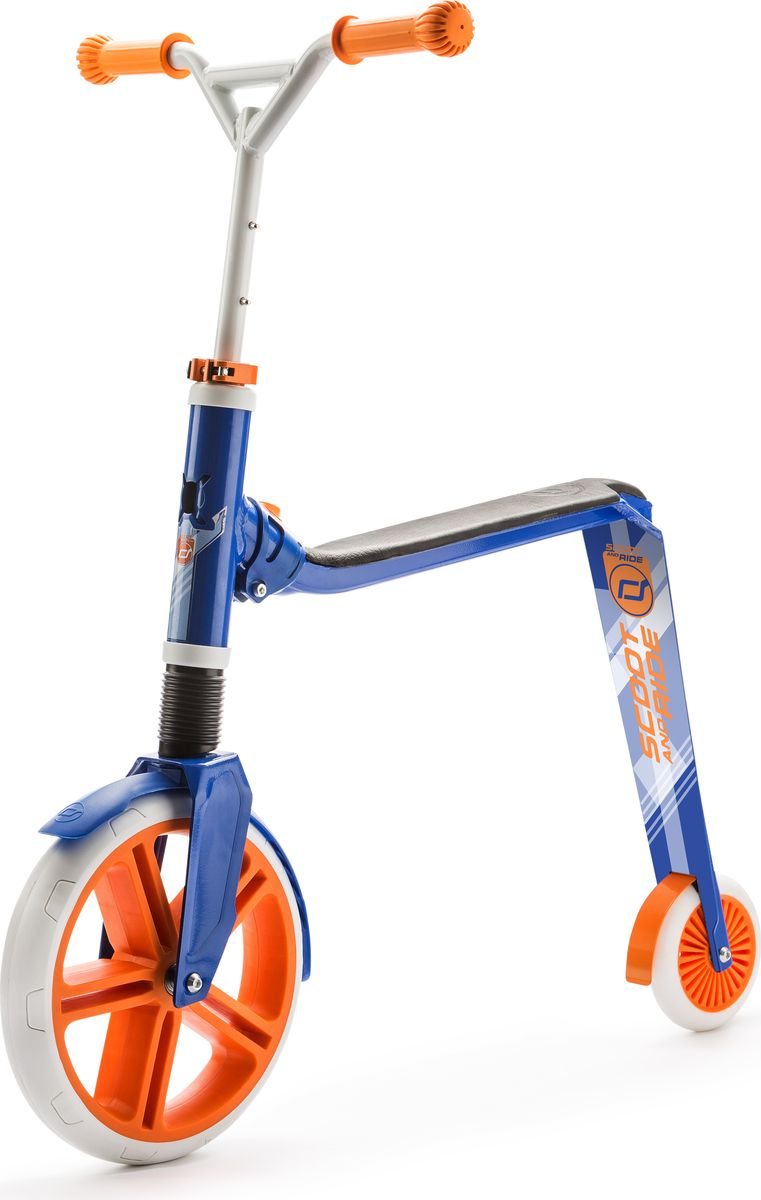 Scoot&Ride Самокат-беговел Highway Gangster 2 в 1 цвет белый голубой оранжевый