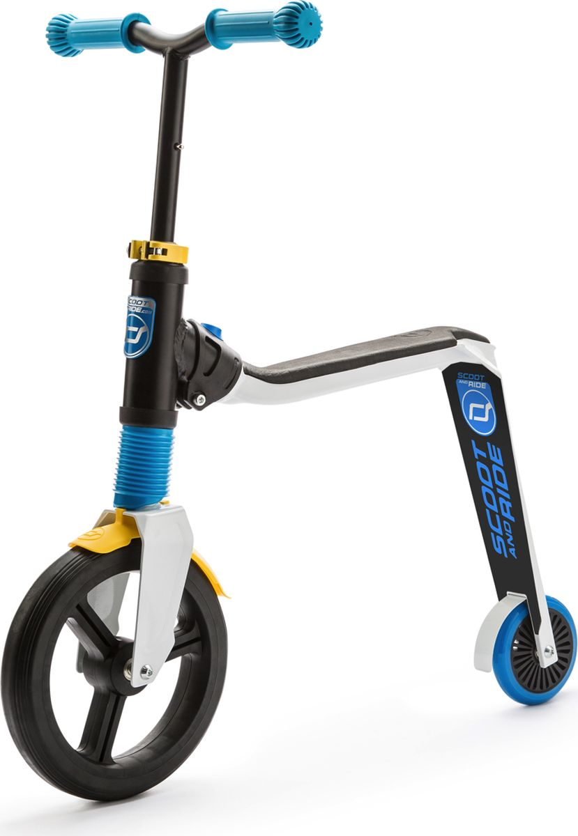 Scoot&Ride Беговел-самокат Highway Freak 2016 New цвет белый синий желтый -  Беговелы