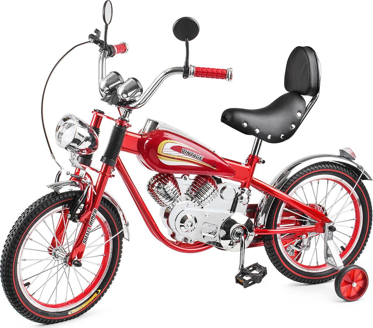 Small Rider Велосипед-мотоцикл детский Motobike Vintage цвет красныйKBO-1014Шикарный и привлекающий взгляды. При первом взгляде на Small Rider Motobike Vintage даже не верится, что это детский велосипед. Он выглядит завораживающе и шикарно. Это,скорее, коллекционный мотоцикл в уменьшенном размере. Все в нем сверкает, блестит и переливается, подчеркивая дороговизну каждого элемента. Стилизация поражает правдоподобностью - мотор, бензобак, спидометр, амортизаторы, сиденье с клепками, фонарь, зеркальца - все как у настоящего мотоцикла! Обучающий детский велосипед. Несмотря на свое великолепие, Мотобайк Винтаж имеет традиционный функционал детского велосипеда и легко приводится в движение с помощью педалей. Очень важно - в комплекте идут поддерживающие колесики, которые помогут ребенку привыкнут к велосипеду и научиться одновременно рулить и крутить педали. Он подойдет детям уже с 4-х лет. Так что, Small Rider Motobike Vintage - отличный вариант, чтобы научиться кататься на велосипеде, причем сделать это с шиком, вызвав удивление и белую зависть в парке или на детской площадке! Безопасность и удобство. За безопасность, опять-таки, отвечают дополнительные съемные боковые колесики, а также два тормоза: ручной и ножной. Повышенный комфорт. Помимо эстетического удовольствия от взгляда на велосипед и обладания им, Мотобайк Винтаж еще и комфортно водить. Надувные резиновые колеса 16-радиуса на спицах бесшумно и плавно катятся, комфортное большое мягкое сиденье имеет еще и спинку! Высота сиденья может регулироваться под рост Вашего ребенка. Катание в удовольствие. В отличие от традиционных (скучных) двухколесных велосипедов катание на Small Rider Motobike Vintage добавит новую искорку, превратит езду в игру в байкеров или путешествие по хайвэю.